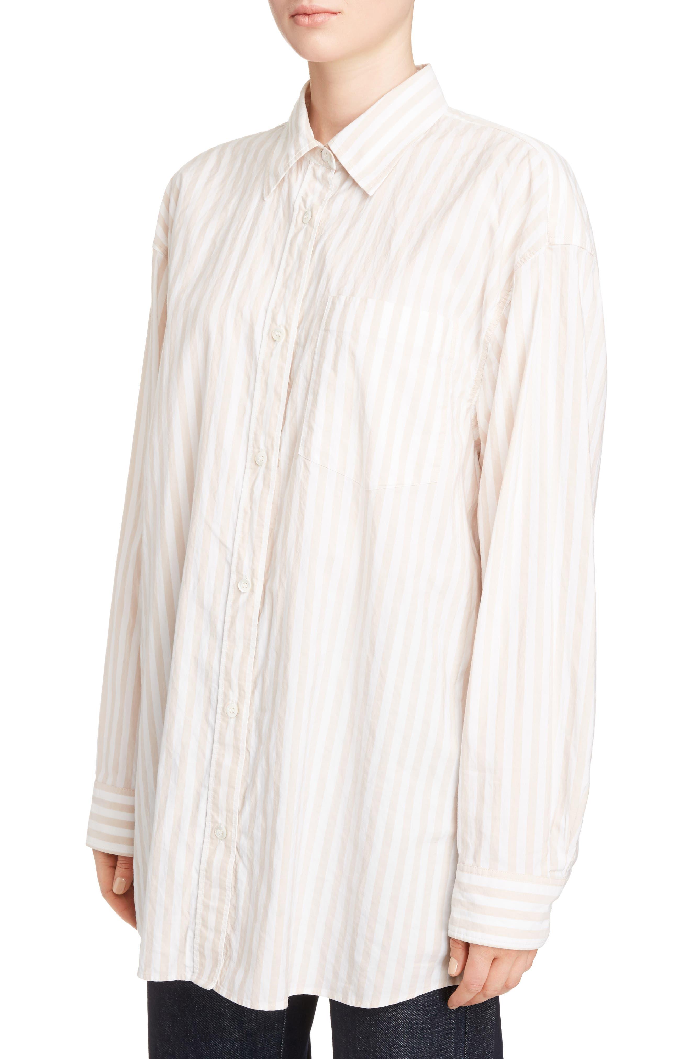 Stripe Cotton Oversize Shirt,                             Alternate thumbnail 4, color,