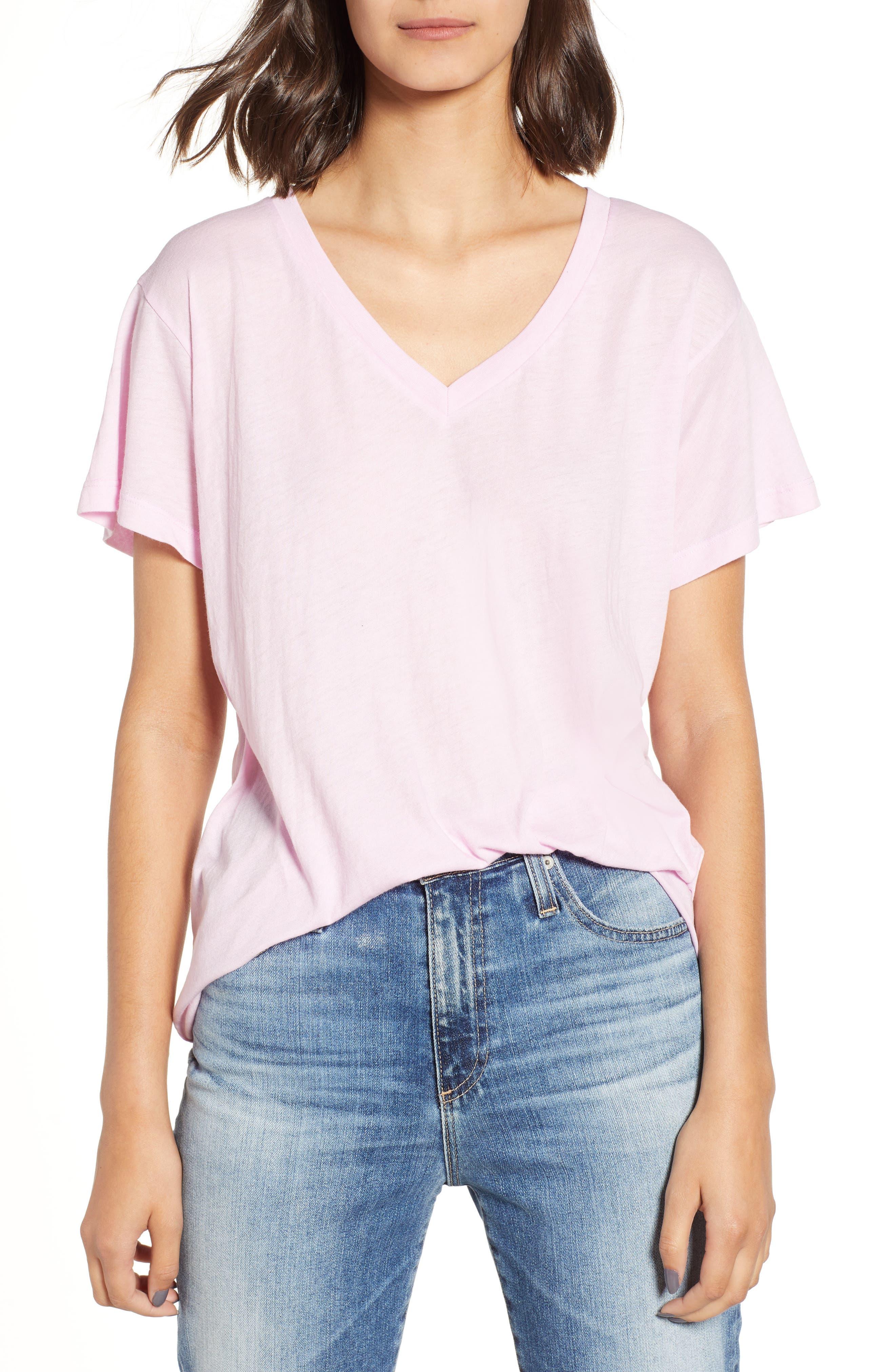 Wildfox Romeo V-Neck Tee, Pink