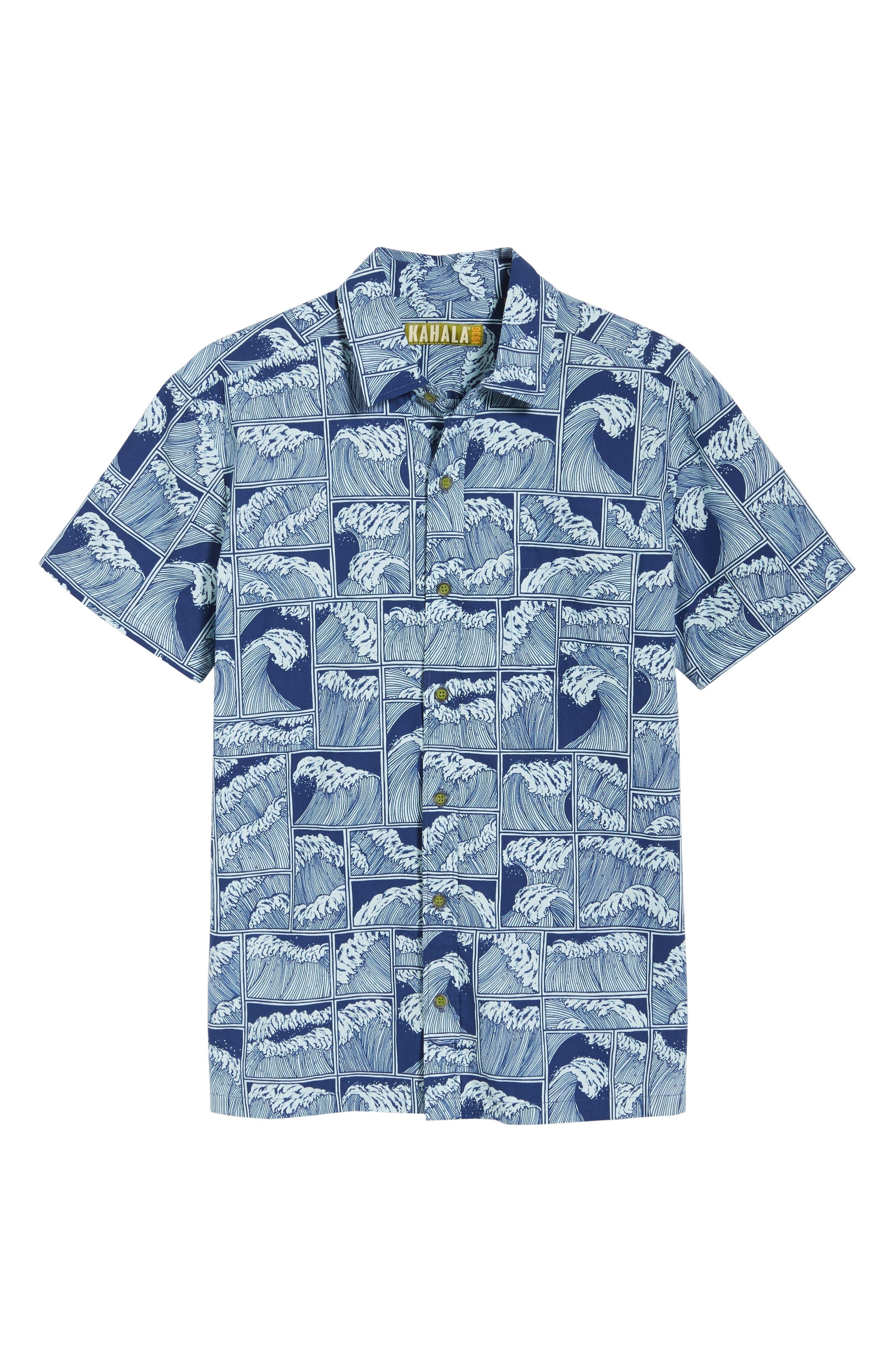 King Tide Trim Fit Sport Shirt,                             Alternate thumbnail 6, color,                             NAVY