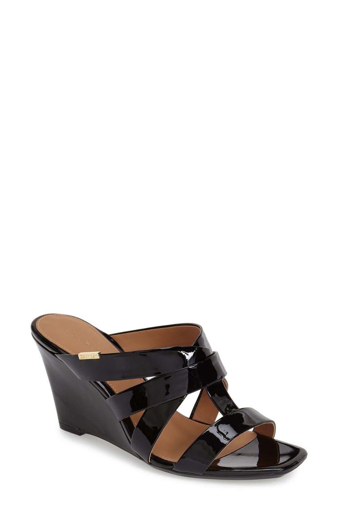 CALVIN KLEIN 'Nona' Wedge Sandal, Main, color, 001