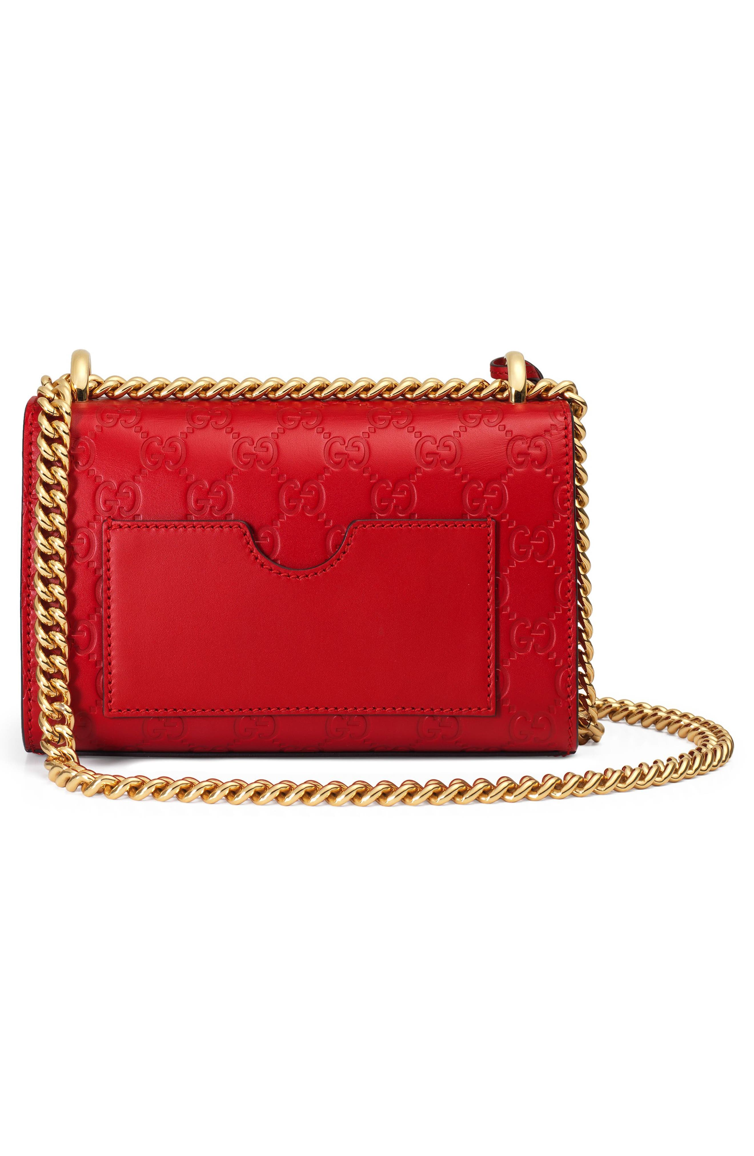Small Padlock Signature Leather Shoulder Bag,                             Alternate thumbnail 2, color,                             HIBISCUS RED