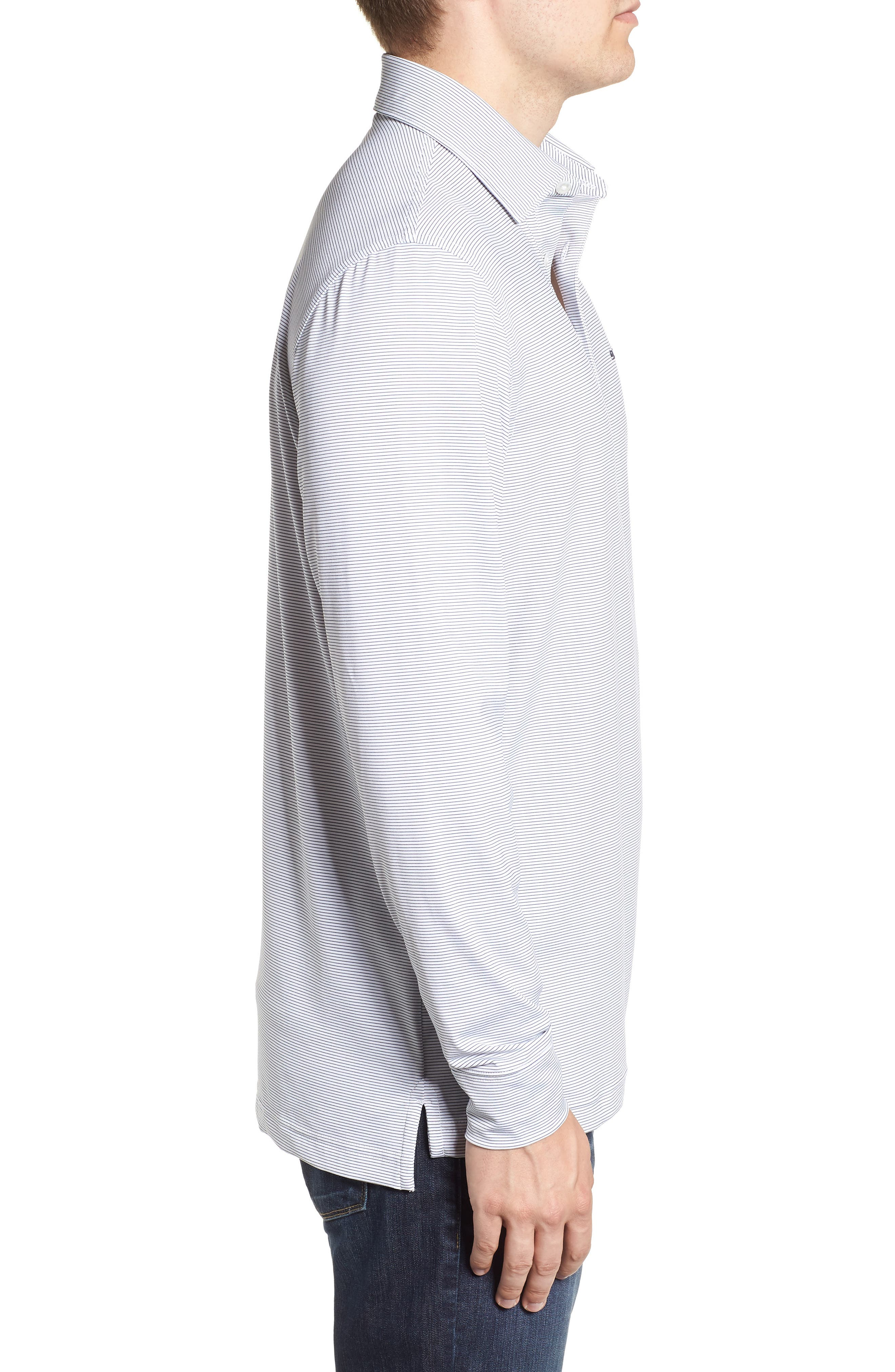 Stripe Long Sleeve Regular Fit Polo,                             Alternate thumbnail 3, color,                             100