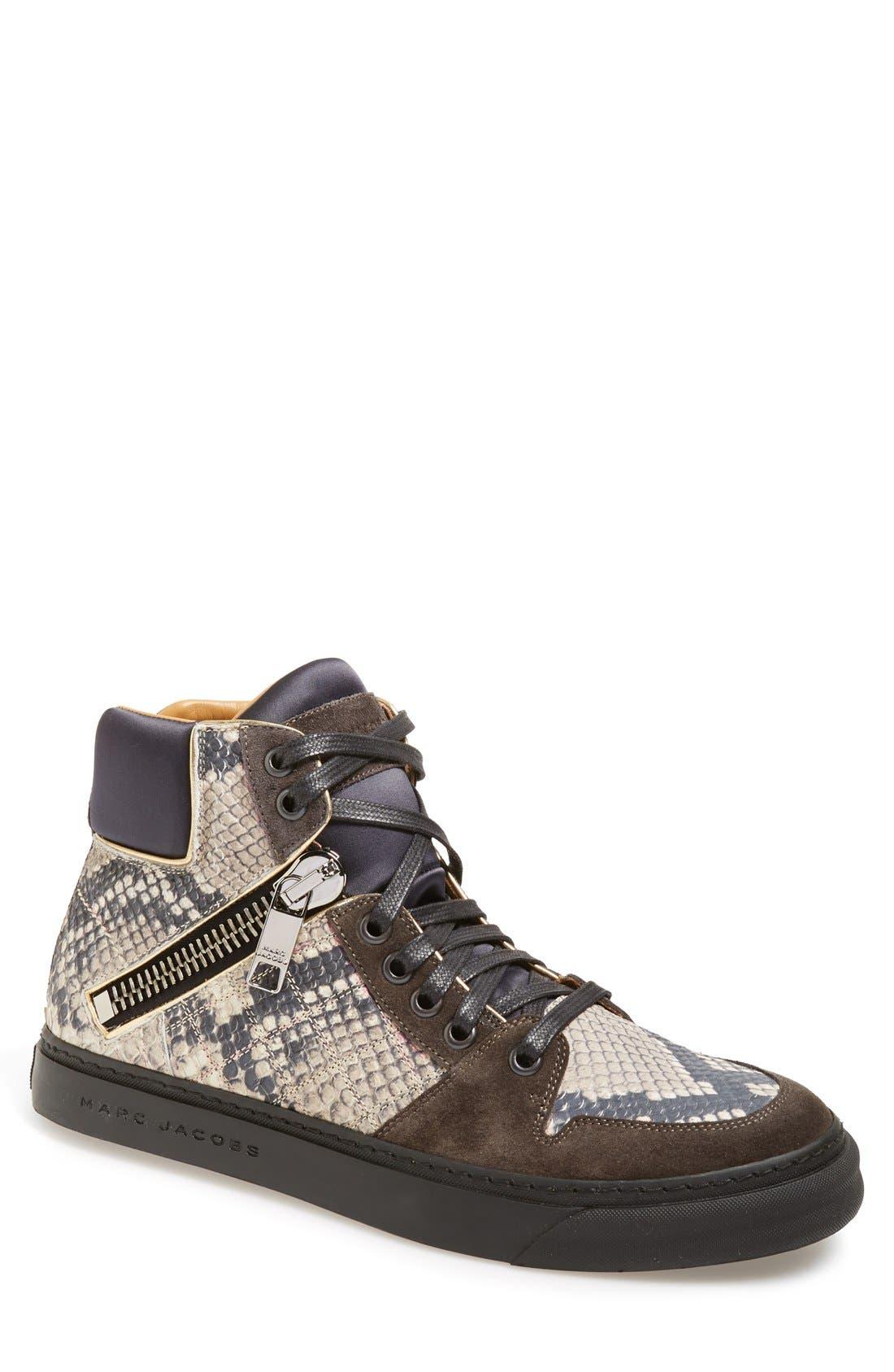 'Atomic Zip' Snake Print High Top Sneaker, Main, color, 001