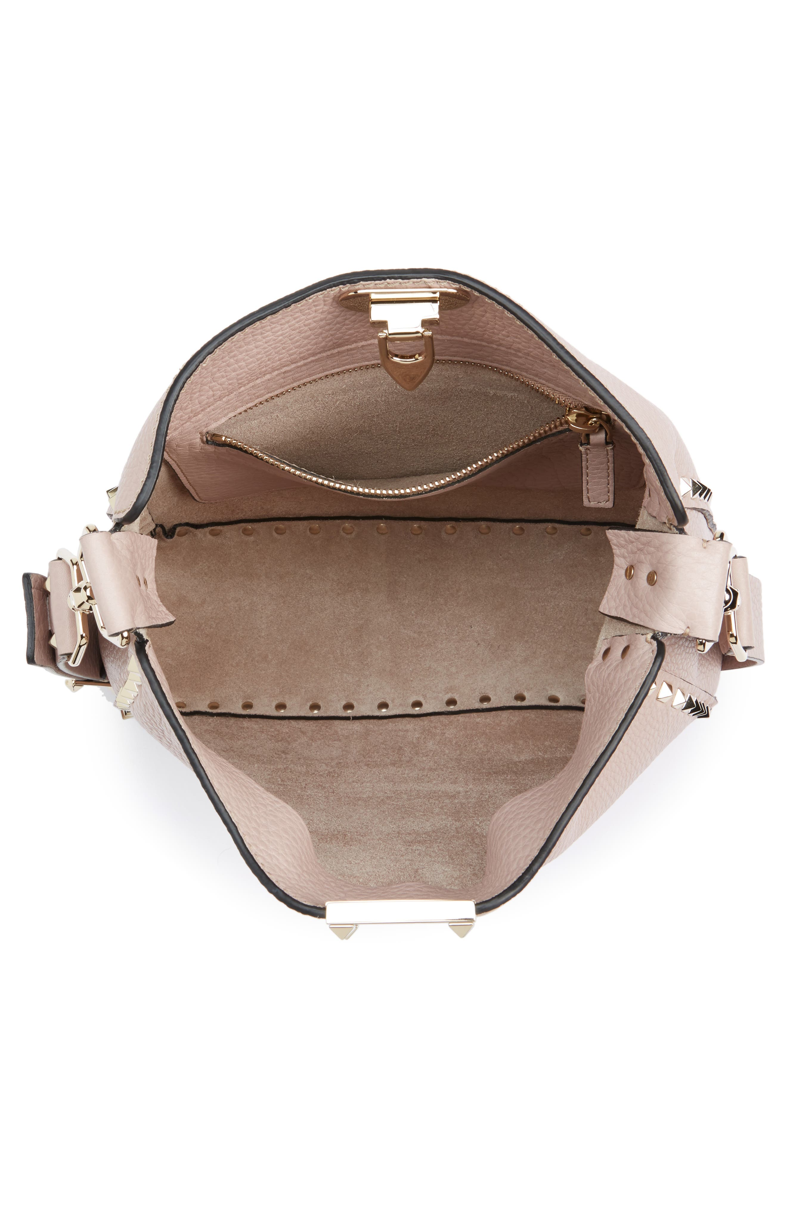 Vitello Rockstud Leather Hobo,                             Alternate thumbnail 4, color,                             950