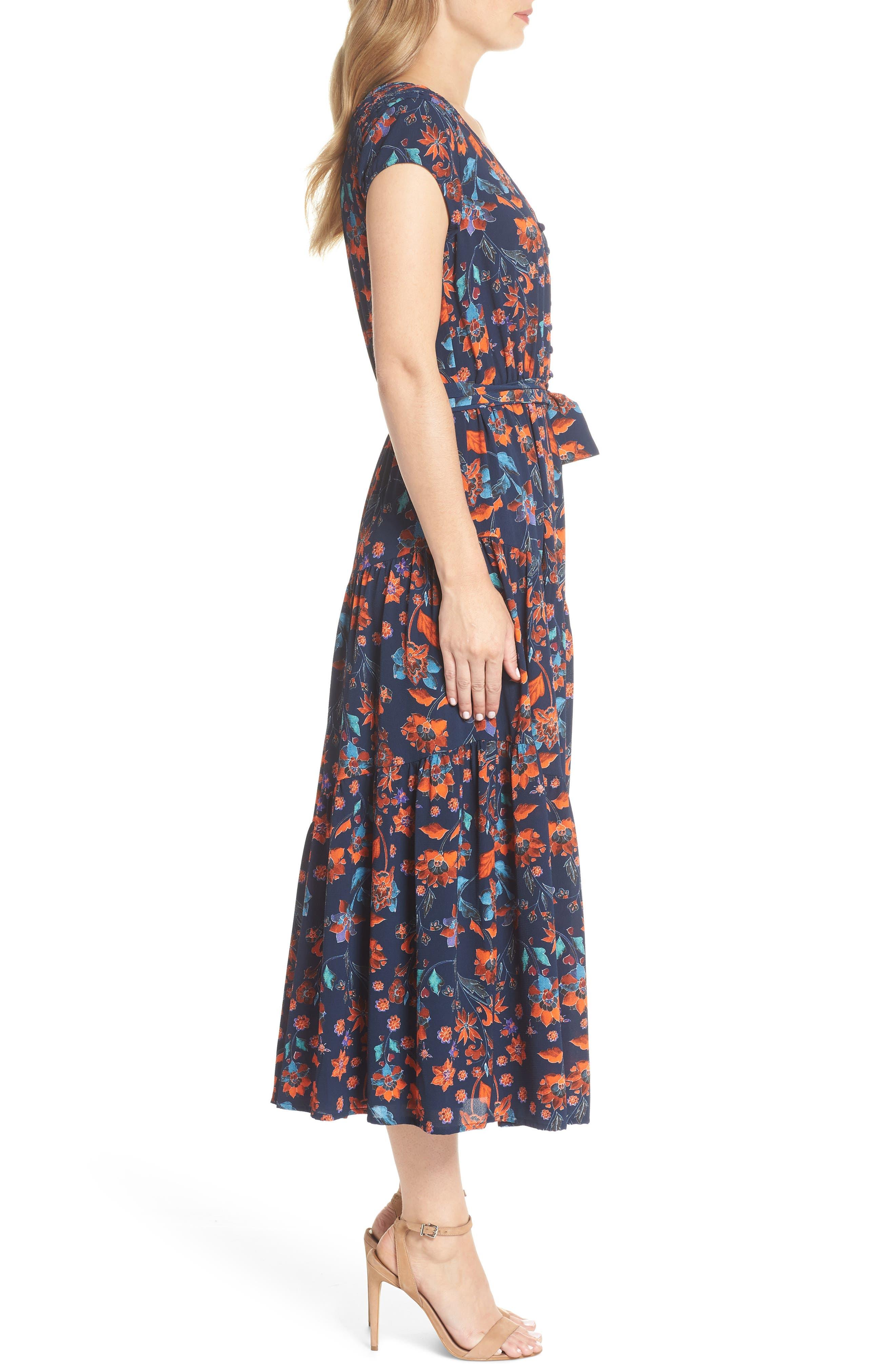 Smock Shoulder Floral Crepe Midi Dress,                             Alternate thumbnail 3, color,                             NAVY/ RED