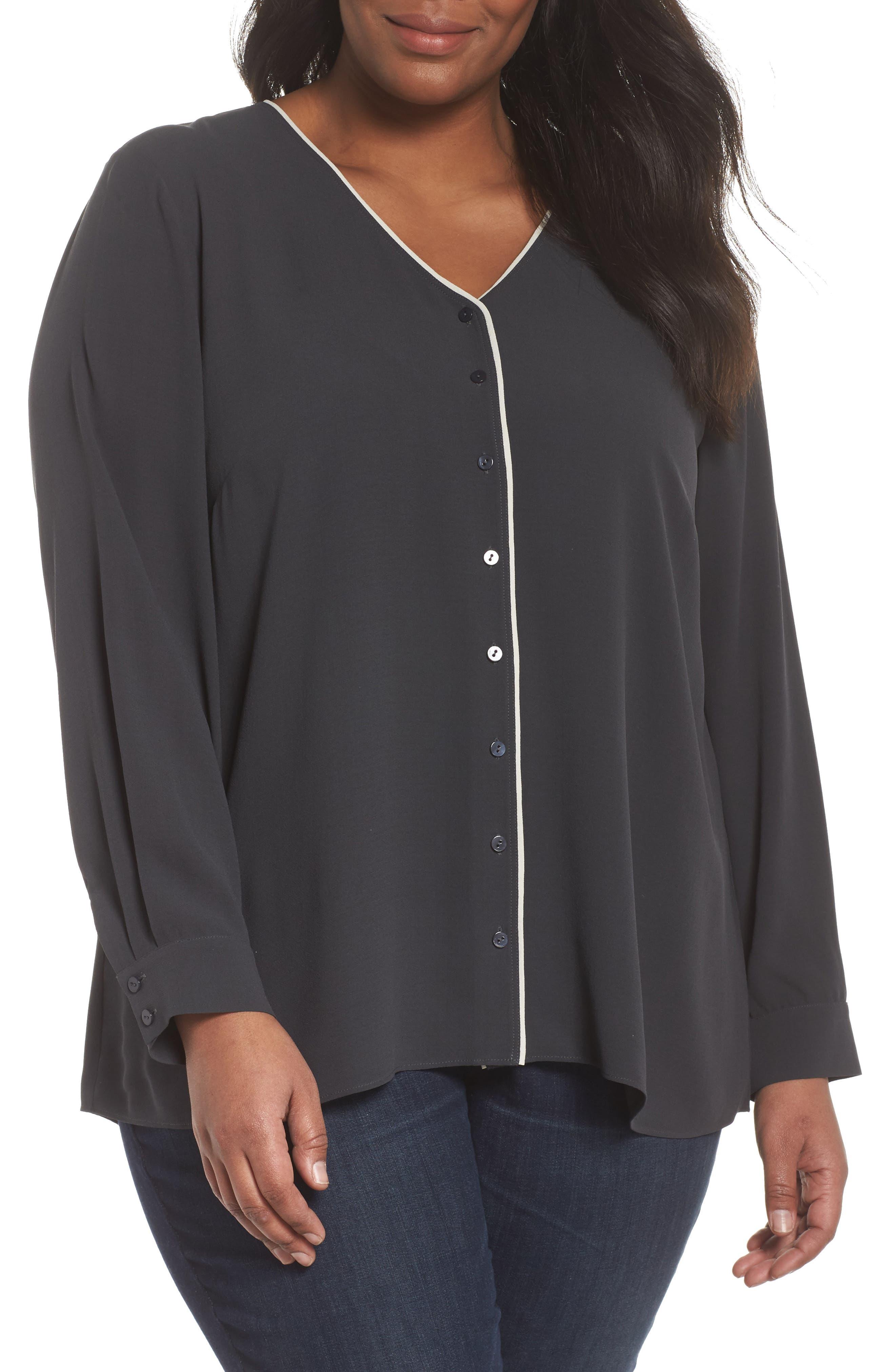 Piping V-Neck Silk Shirt,                             Main thumbnail 1, color,                             025