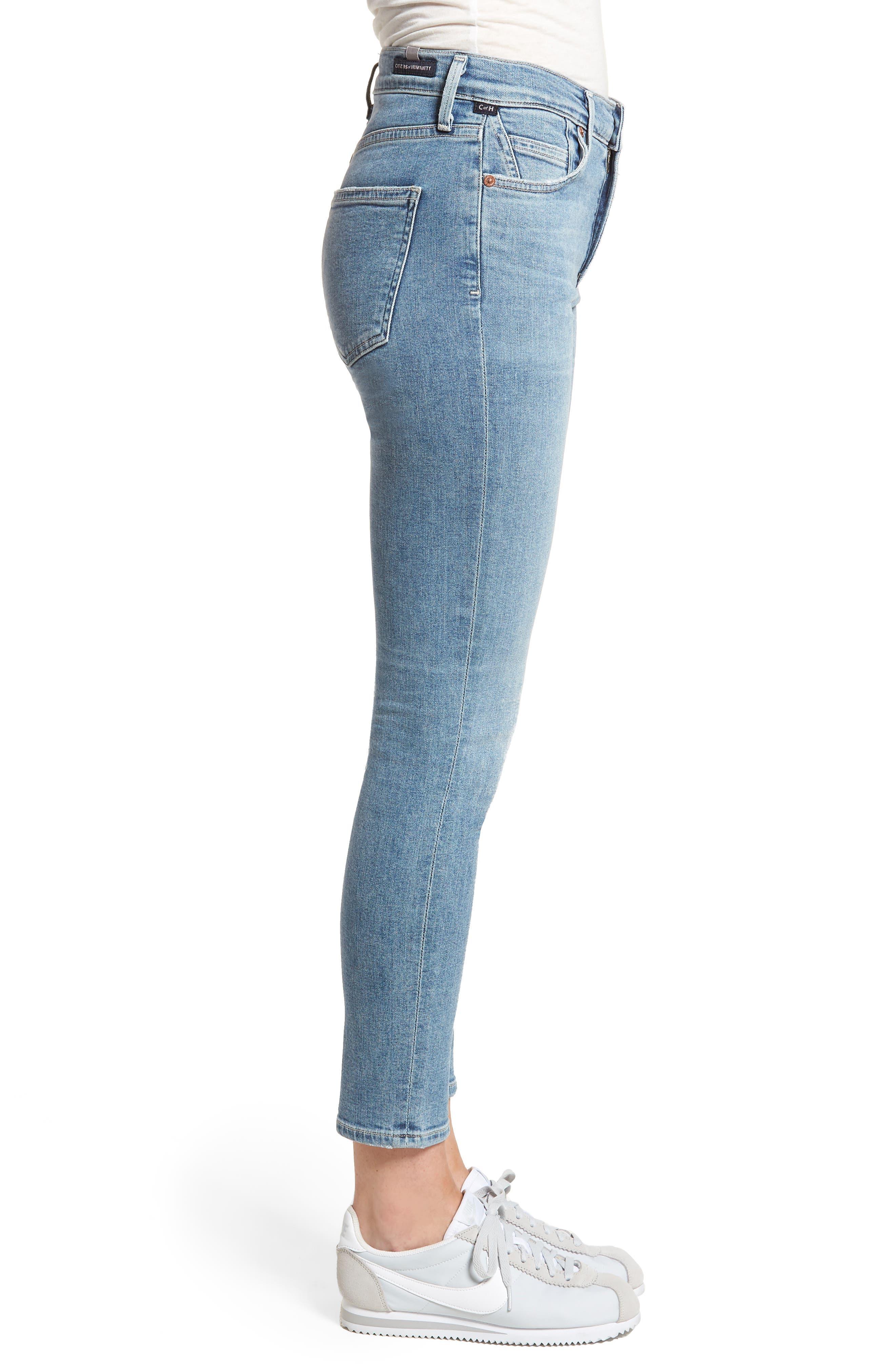 Rocket High Waist Crop Skinny Jeans,                             Alternate thumbnail 3, color,                             457