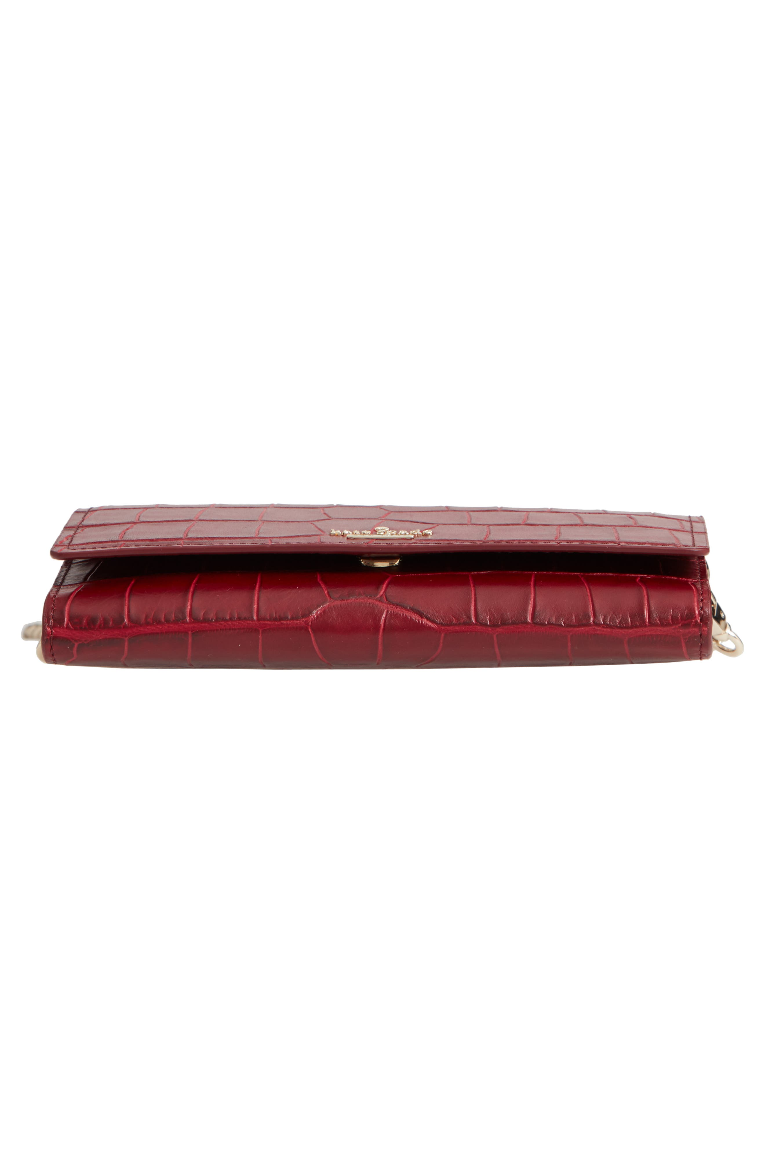 murray street luxe franny leather wallet on a chain,                             Alternate thumbnail 6, color,                             CHILI PEPPER