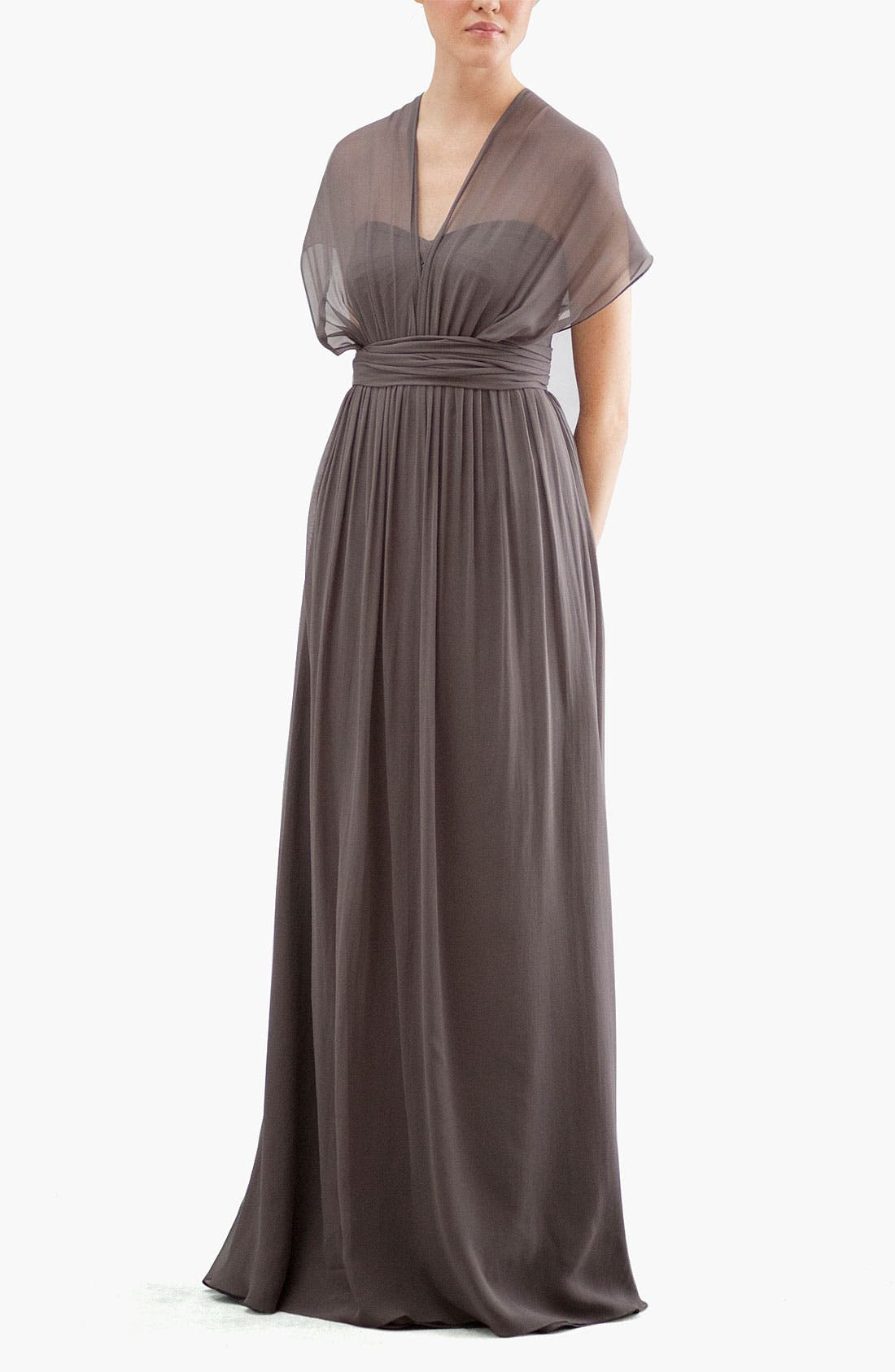 Aidan Convertible Strapless Chiffon Gown,                             Alternate thumbnail 2, color,                             020