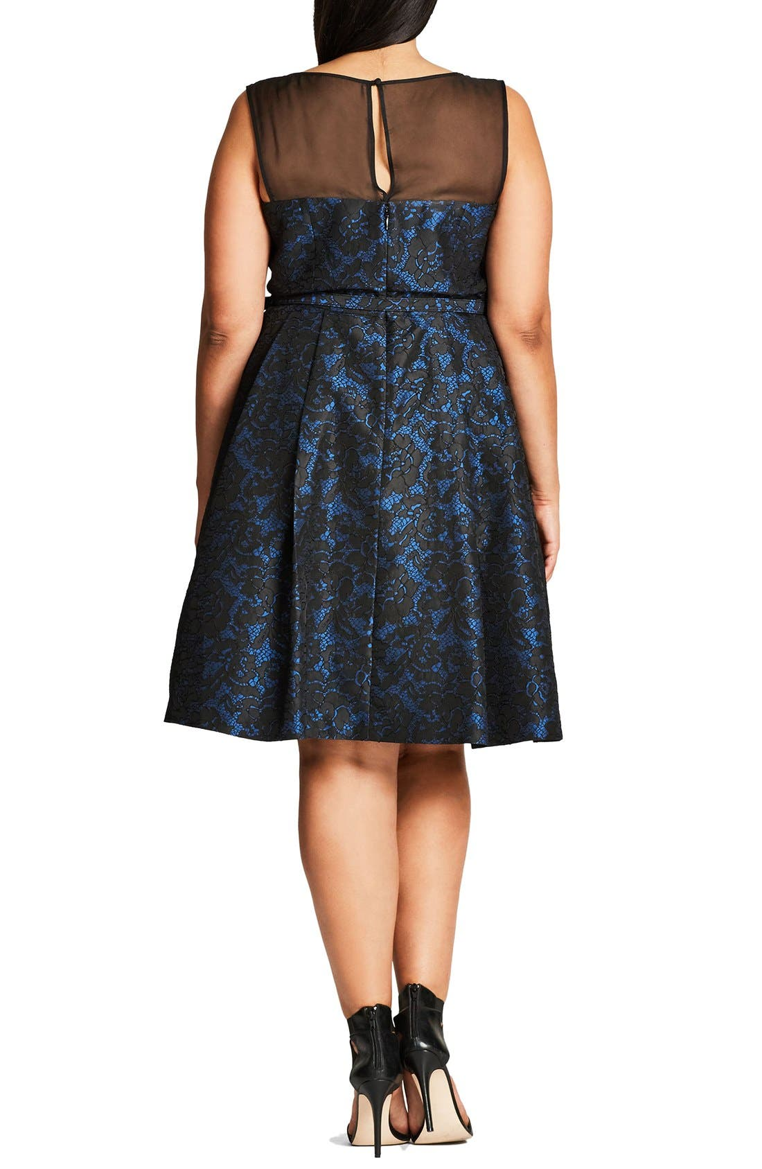 'After Dark' Lace Fit & Flare Dress,                             Alternate thumbnail 2, color,                             414