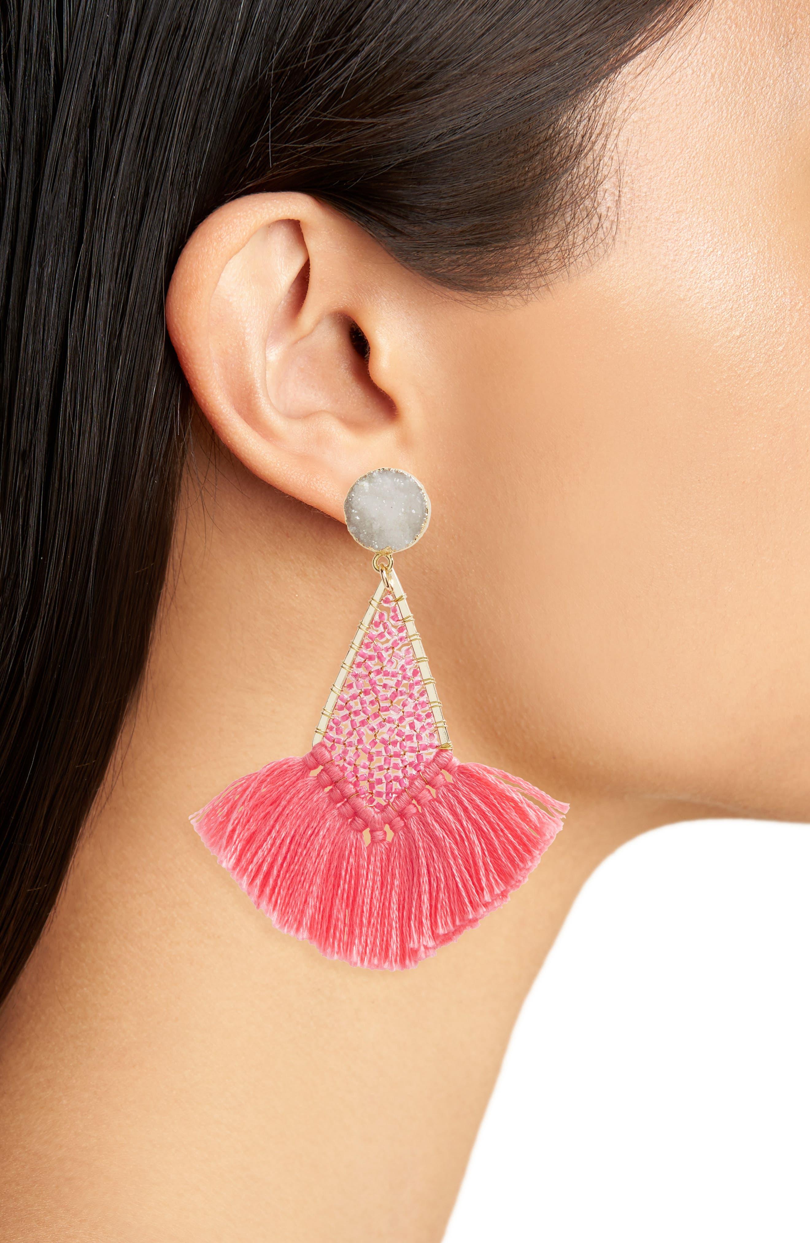 Drusy Fringe Earrings,                             Alternate thumbnail 2, color,                             650