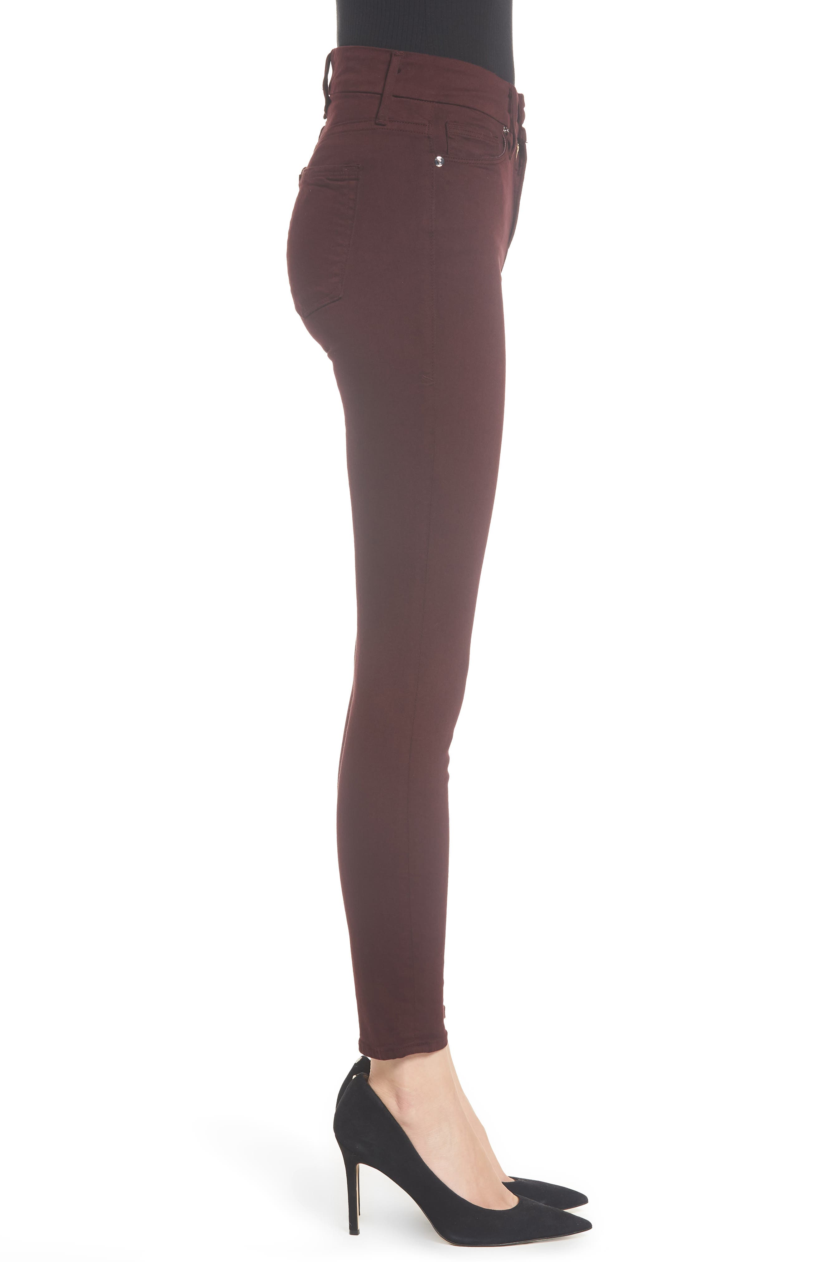 Good Legs High Waist Ankle Skinny Jeans,                             Alternate thumbnail 4, color,                             BURGUNDY 001