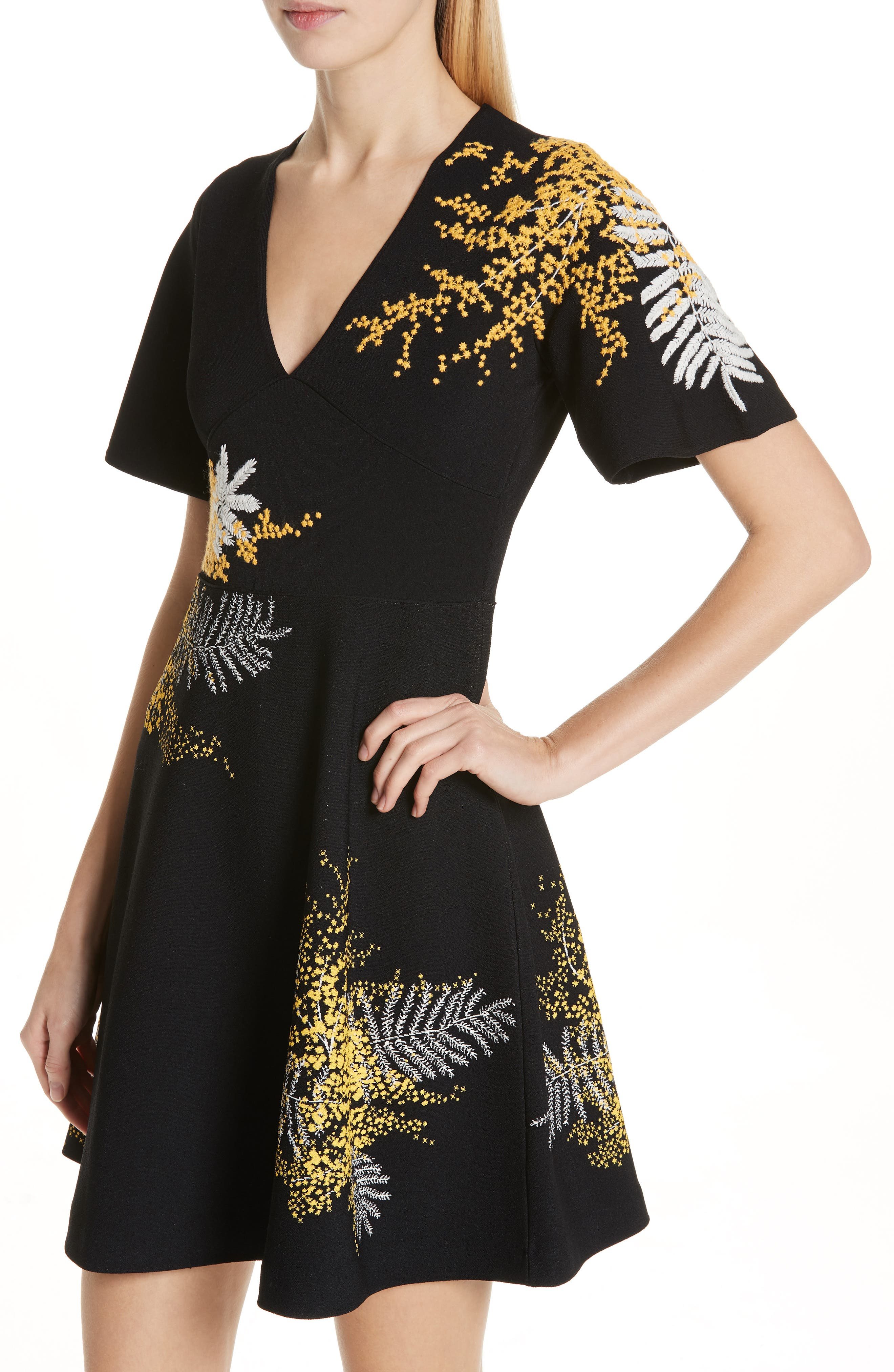 Mimosa Embroidered Fit & Flare Dress,                             Alternate thumbnail 4, color,                             BLACK/ MULTI COLOR