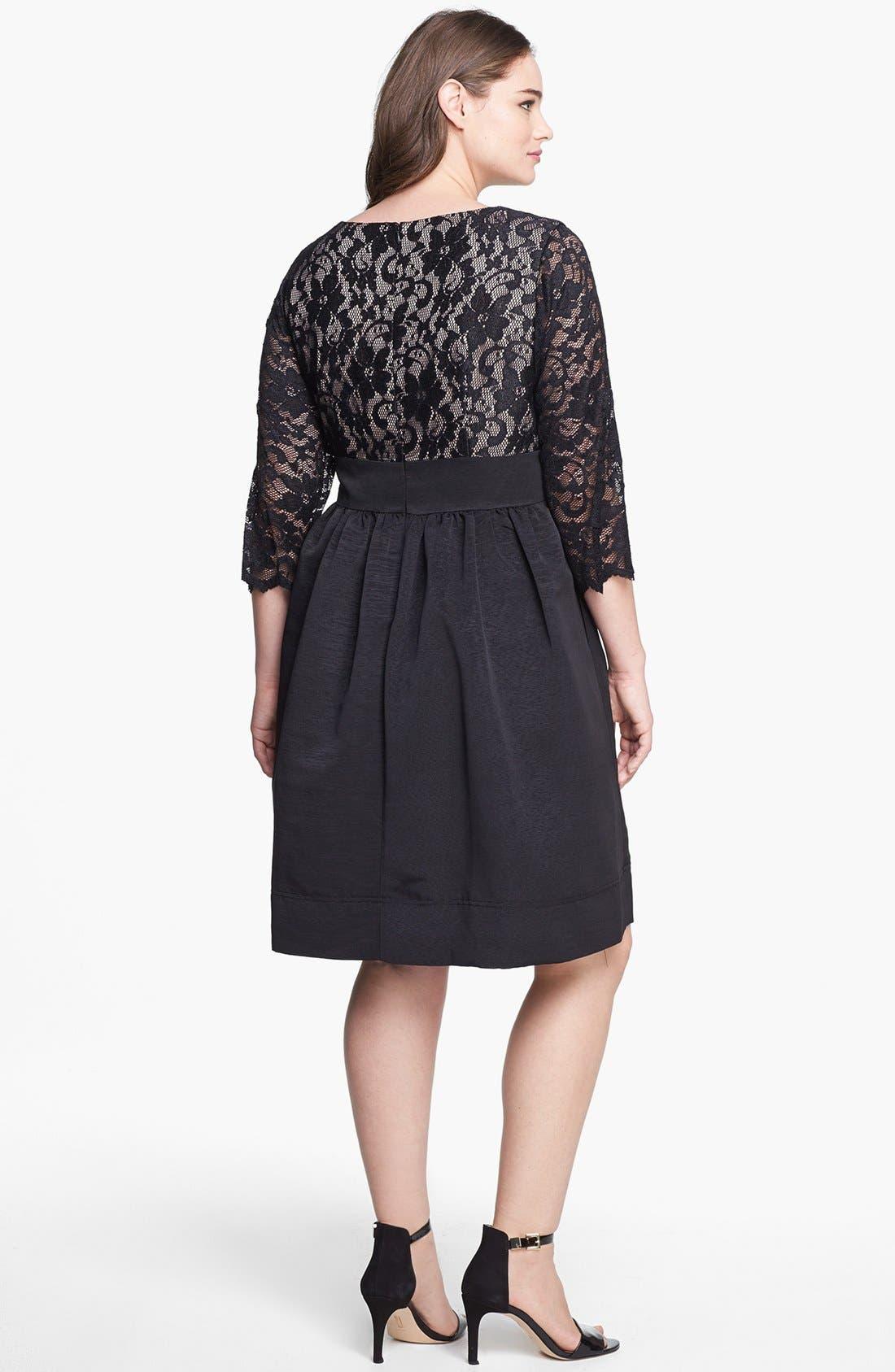 Lace & Faille Dress,                             Alternate thumbnail 14, color,
