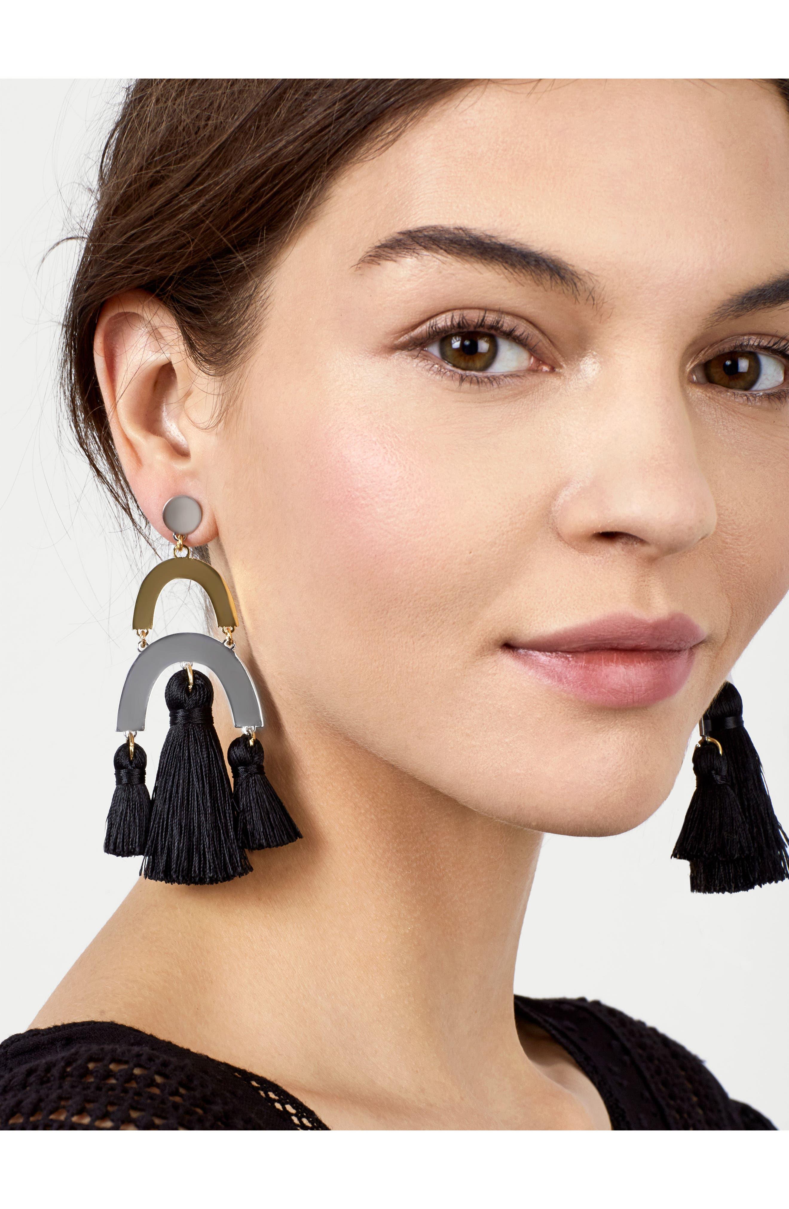 Shamia Tassel Drop Earrings,                             Alternate thumbnail 2, color,                             001