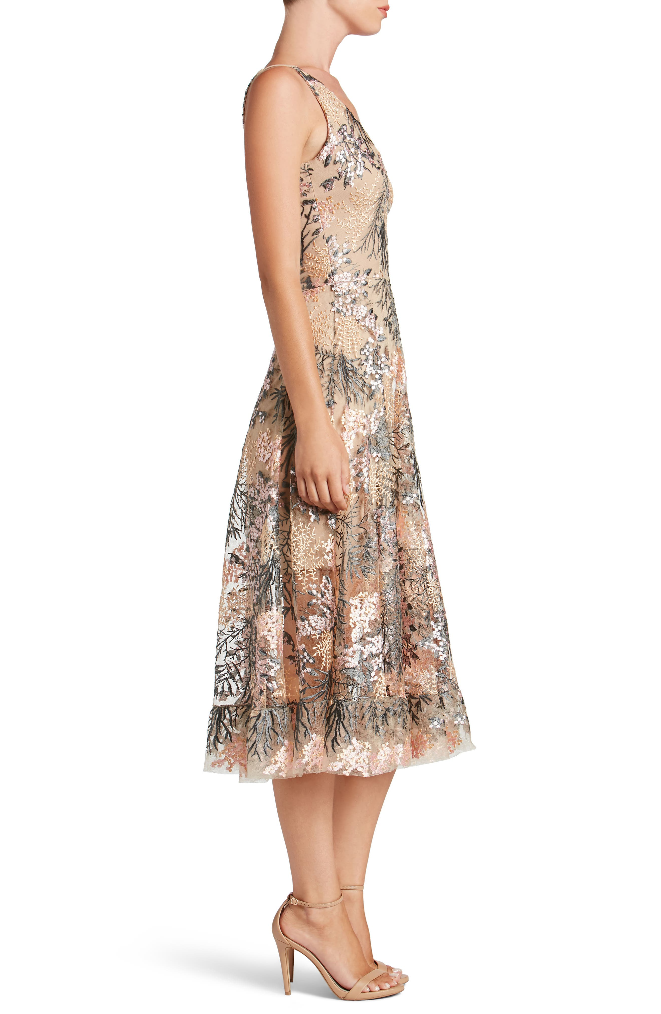 Audrey Embroidered Fit & Flare Dress,                             Alternate thumbnail 3, color,                             PINK BLOSSOM