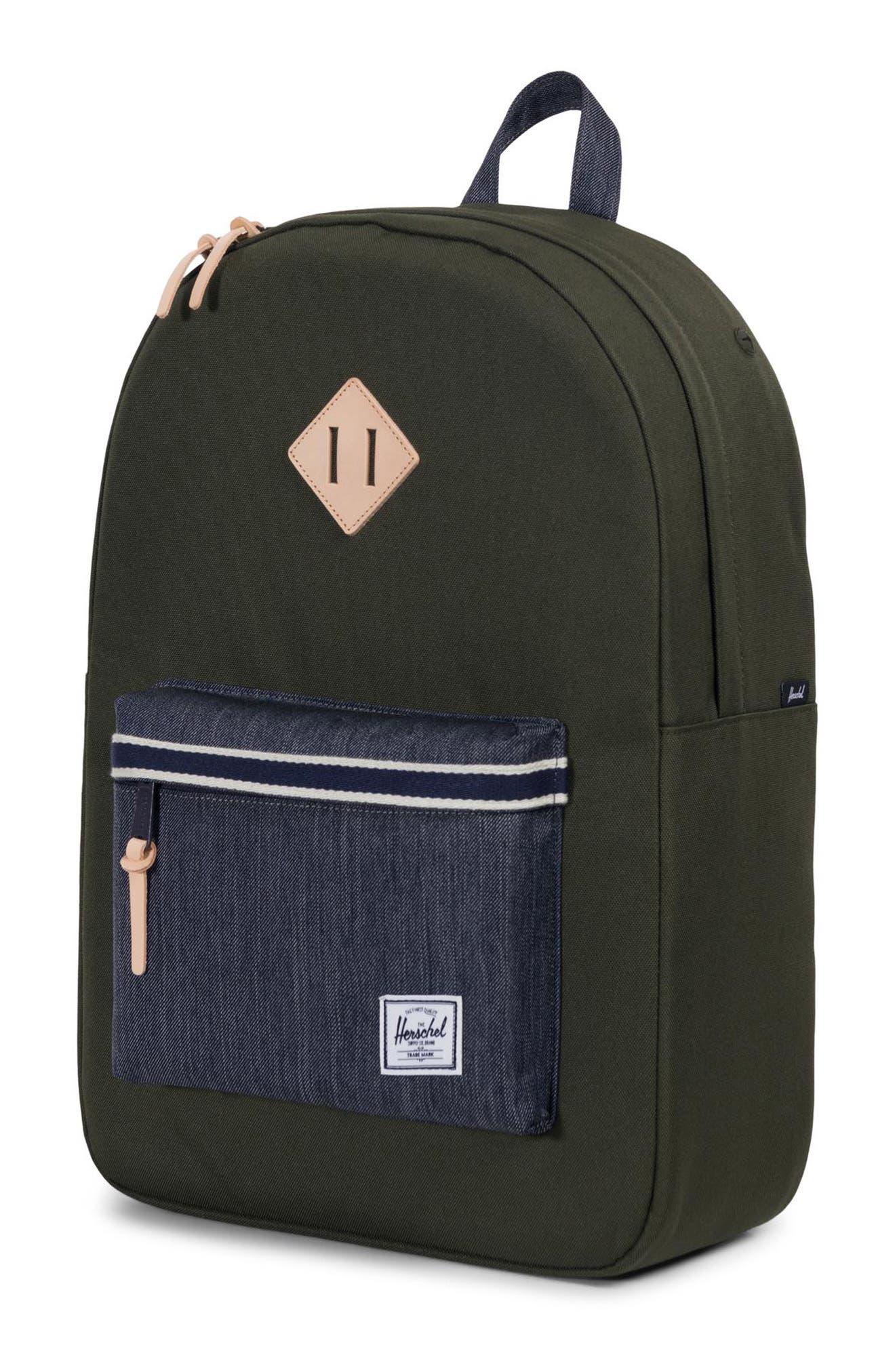 Heritage Offset Denim Backpack,                             Alternate thumbnail 4, color,                             FOREST NIGHT/ DARK DENIM