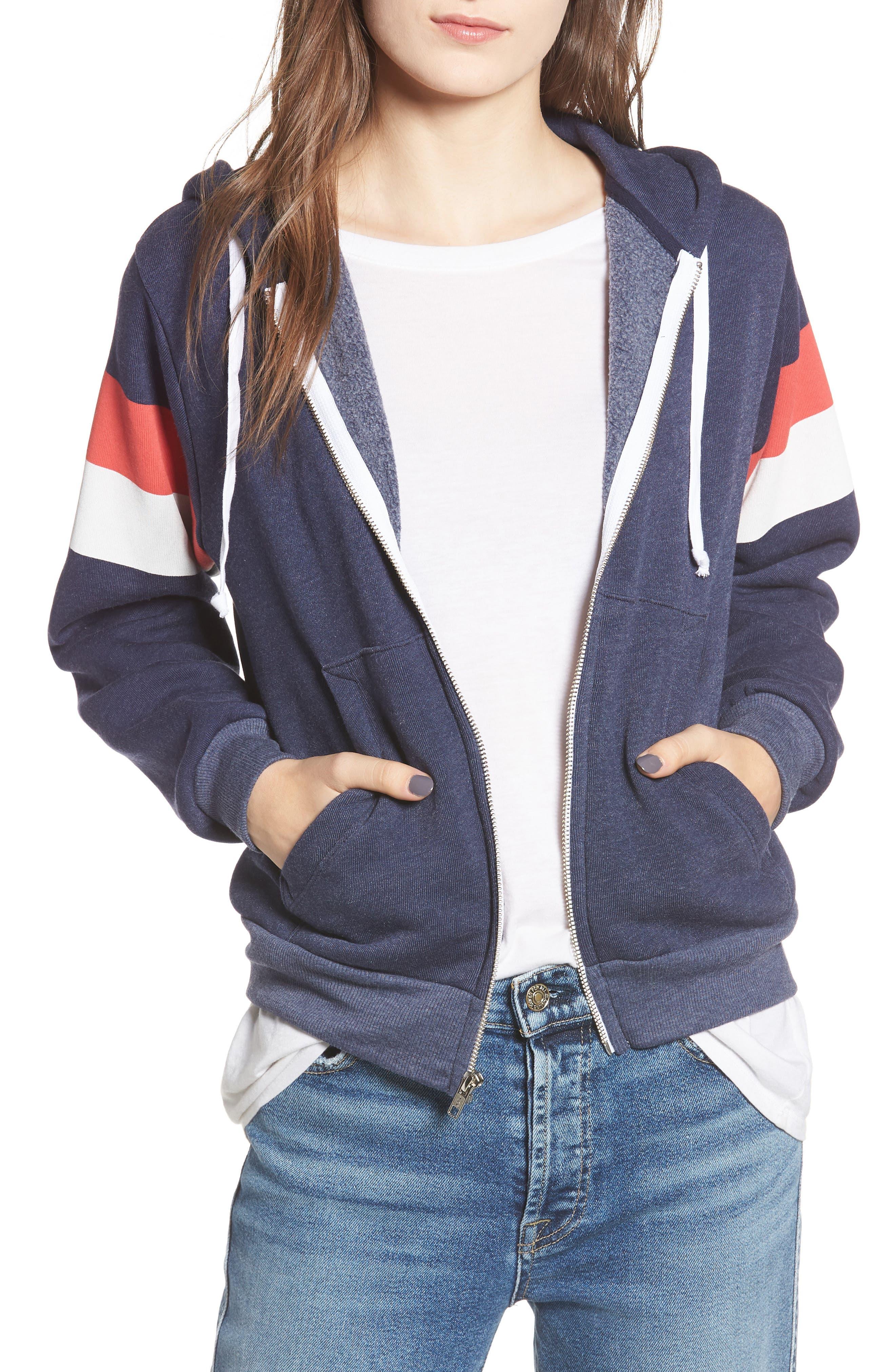 Regan Varsity Stripe Zip Hoodie,                         Main,                         color, 410