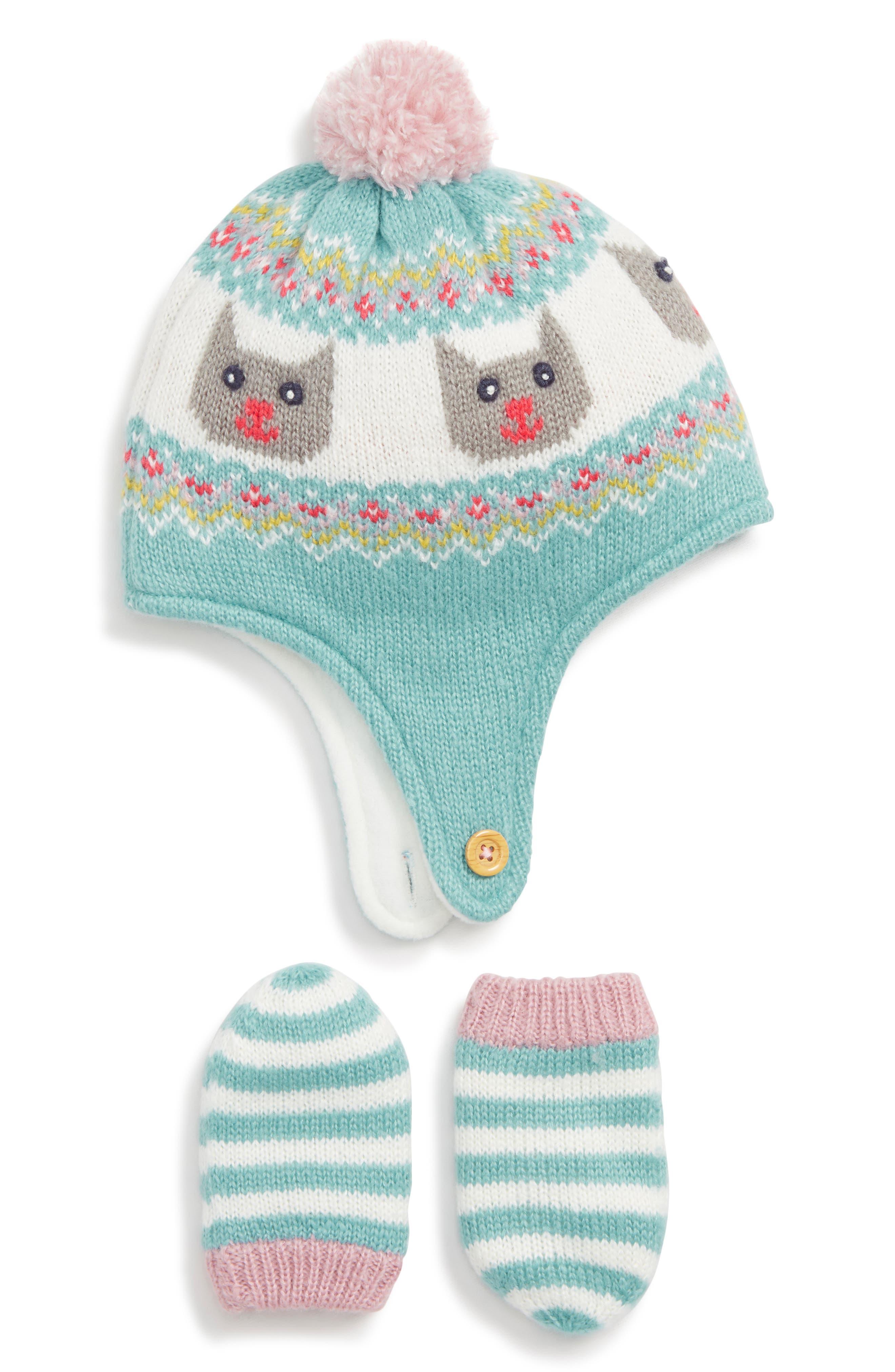 Mini Boden Knit Hat & Mitten Set,                         Main,                         color, AQUAMARINE GREEN