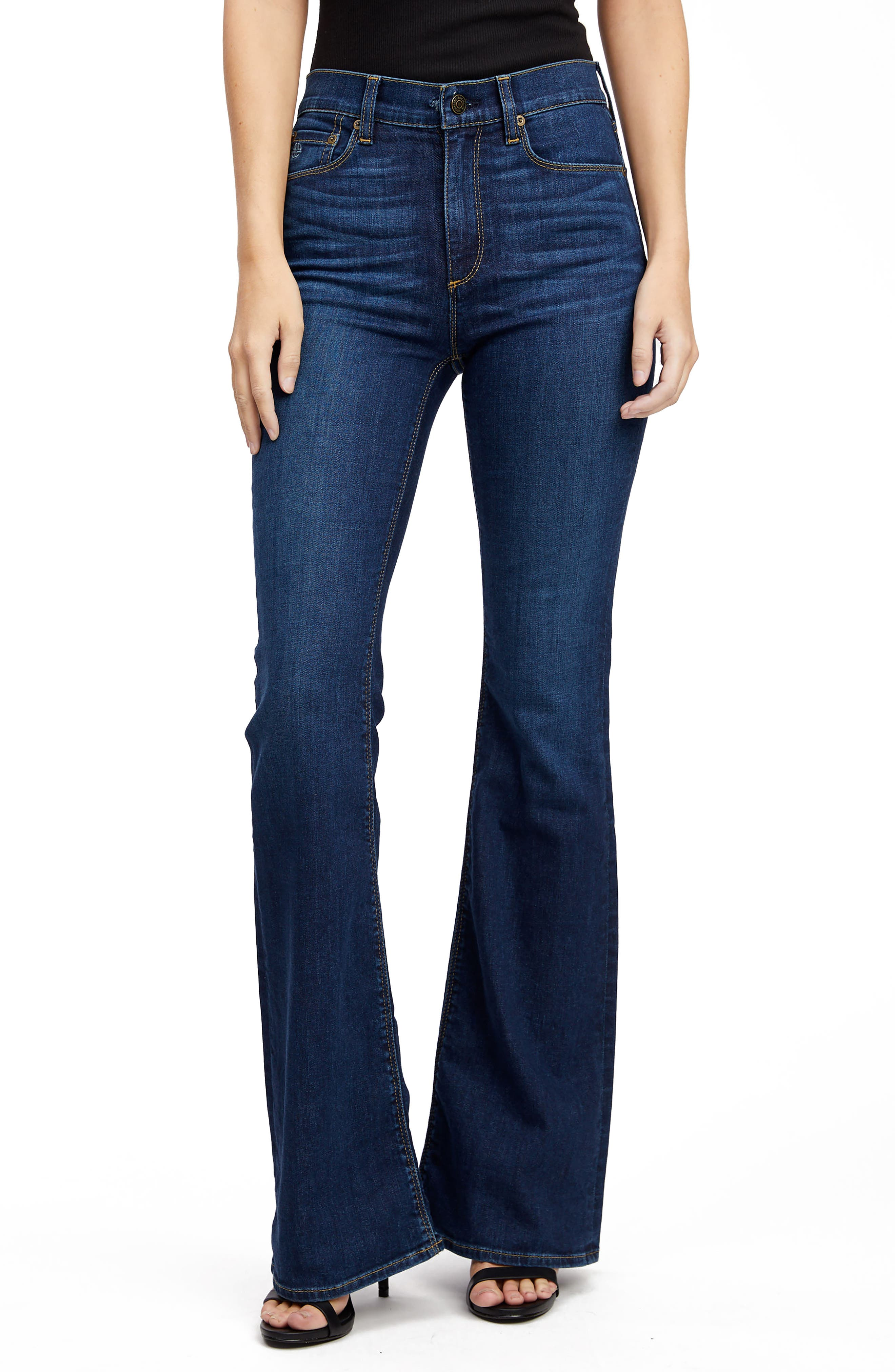 Vintage High Waisted Trousers, Sailor Pants, Jeans Womens Socialite Remi High Waist Flare Jeans $138.00 AT vintagedancer.com
