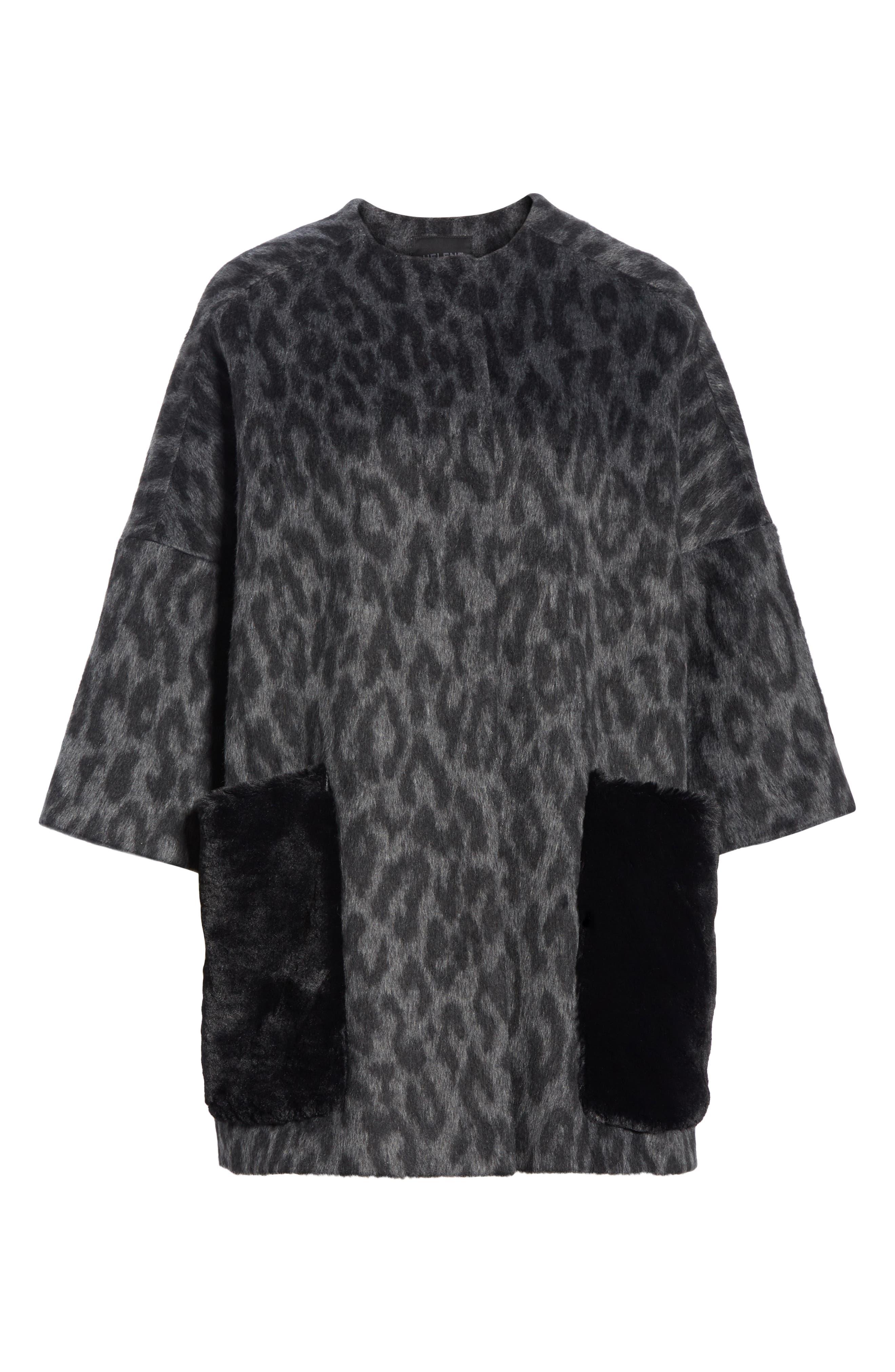 Faux Fur Kimono,                             Alternate thumbnail 6, color,                             FIORELLA L/ C