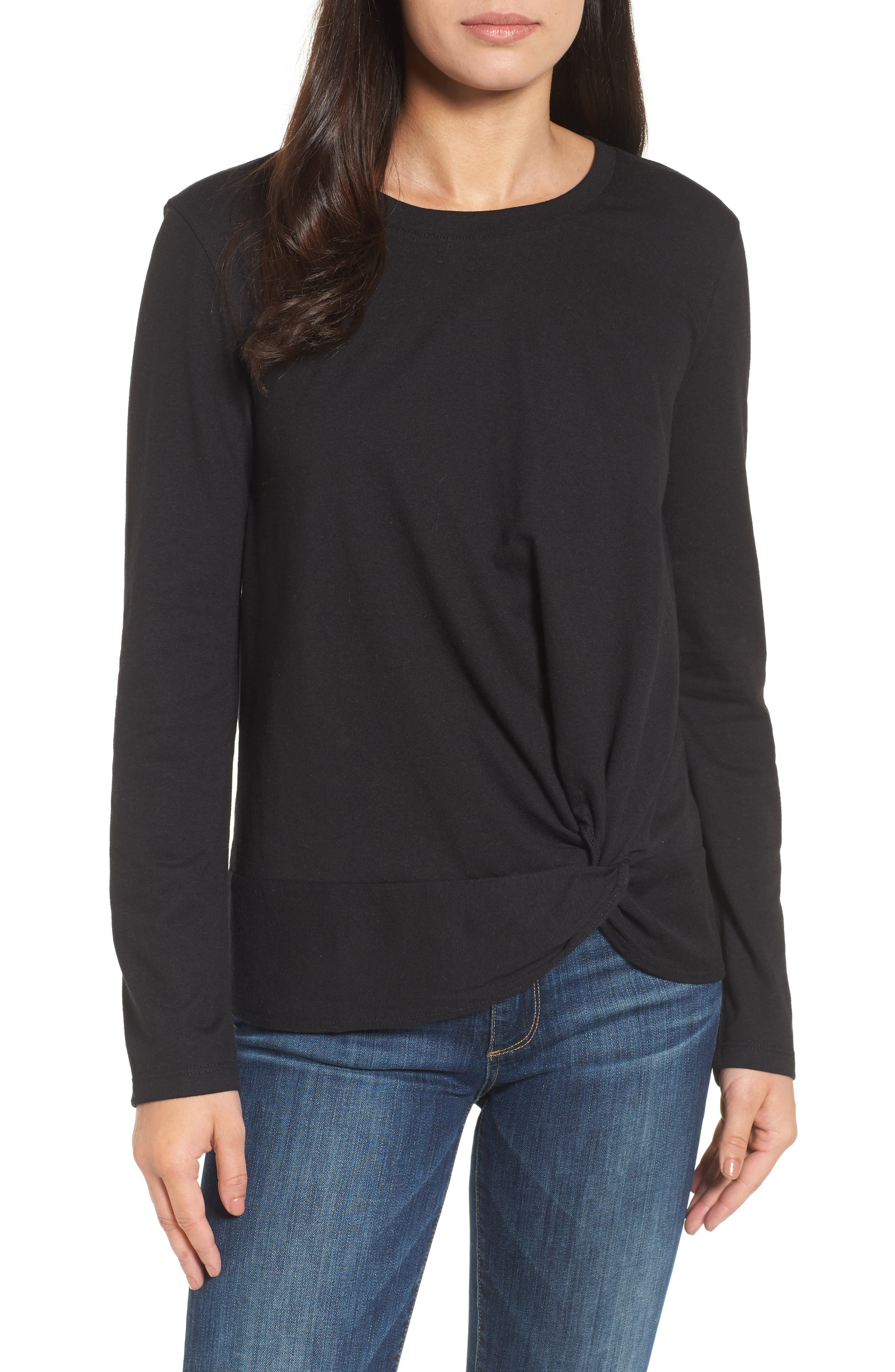 Long Sleeve Front Knot Tee,                         Main,                         color, BLACK