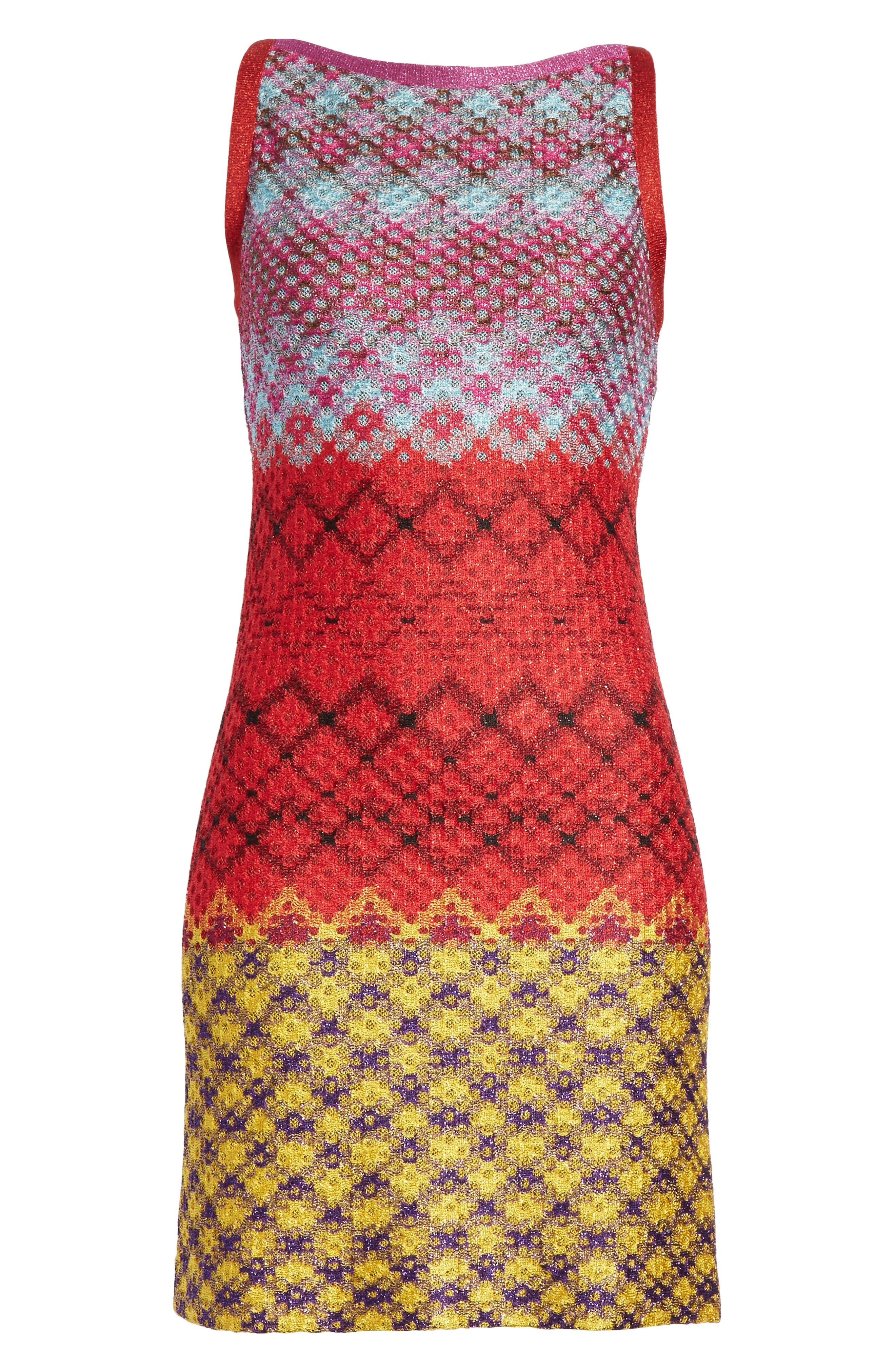 Multi Pattern Knit Dress,                             Alternate thumbnail 6, color,                             640