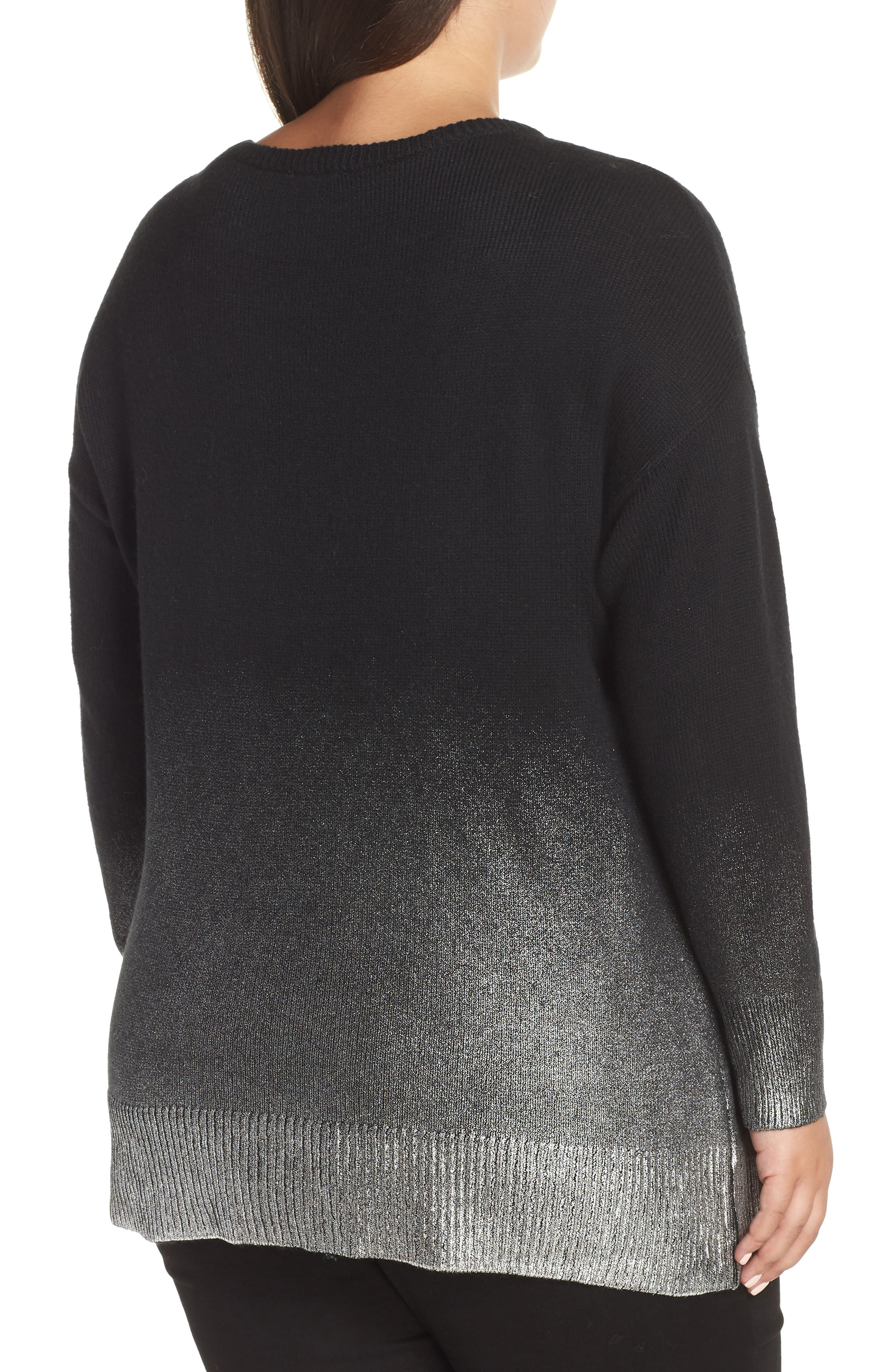 Long Sleeve Foiled Ombré Sweater,                             Alternate thumbnail 2, color,                             RICH BLACK