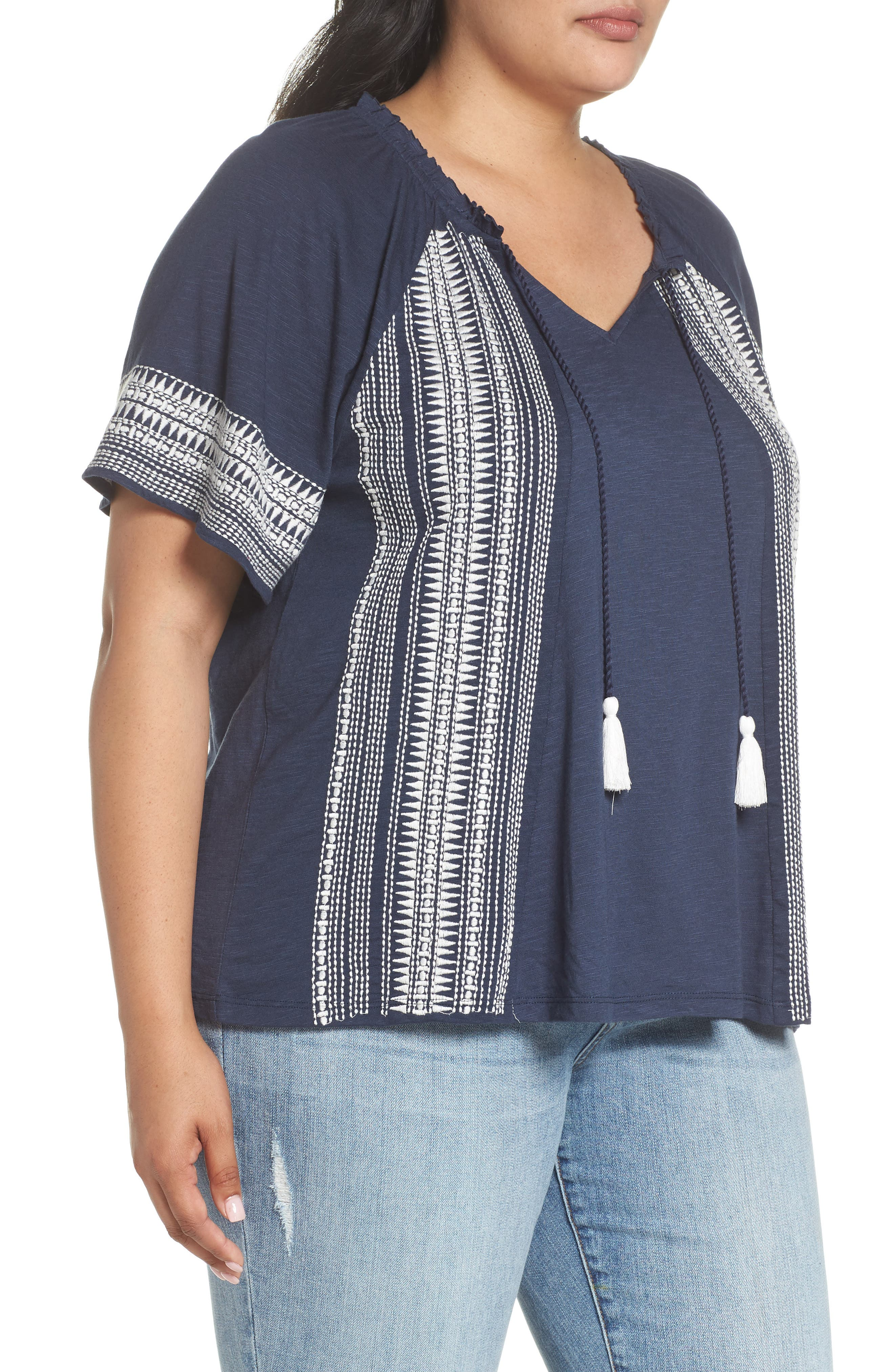 Embroidered Border Peasant Top,                             Alternate thumbnail 3, color,                             410