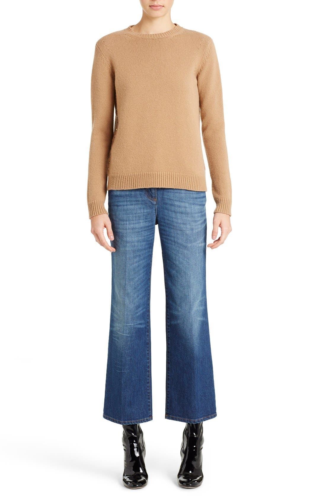 Studded Crewneck Cashmere Sweater,                         Main,                         color, CAMEL