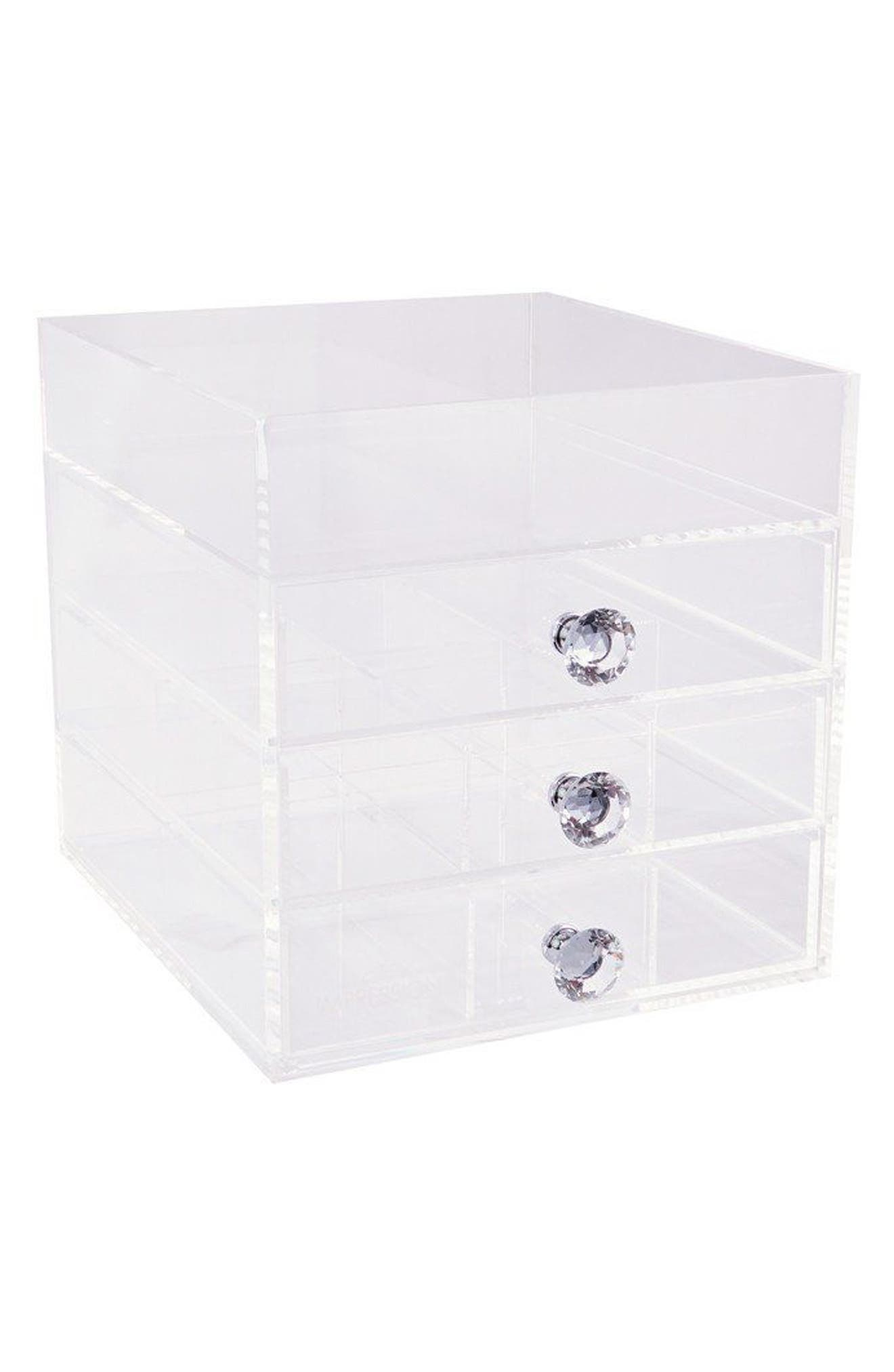 Diamond Collection 4-Drawer Acrylic Organizer,                             Main thumbnail 1, color,                             CLEAR
