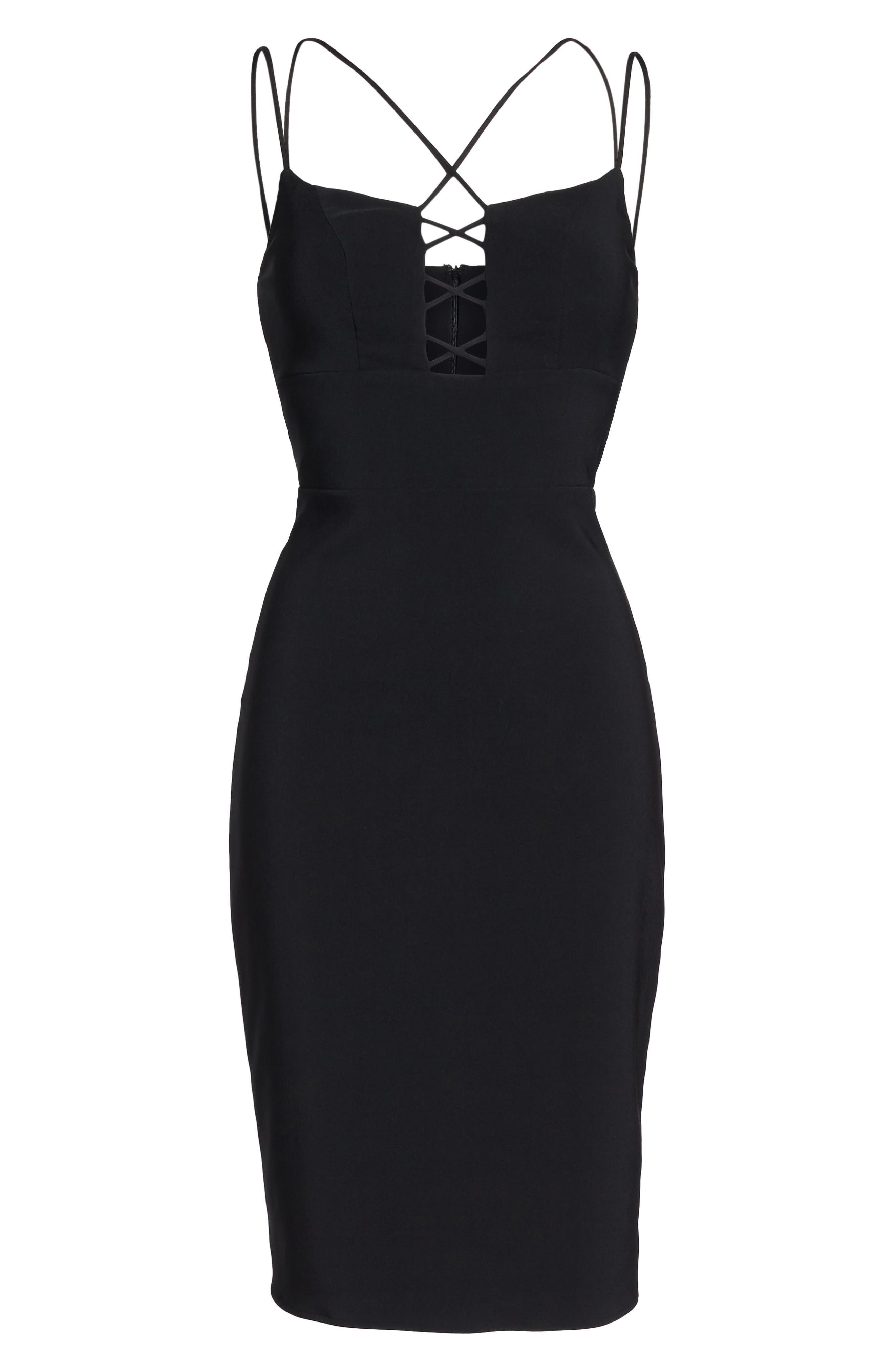Lace Front Sheath Dress,                             Alternate thumbnail 6, color,                             001