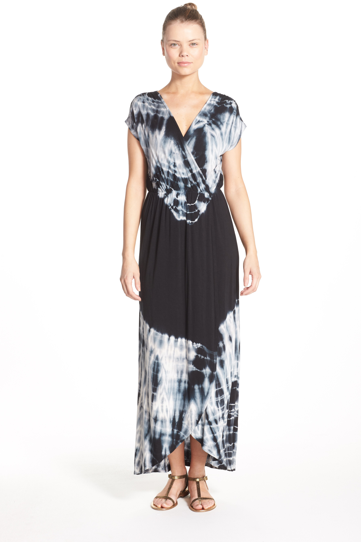 Tie Dye Faux Wrap Maxi Dress,                             Alternate thumbnail 5, color,                             001