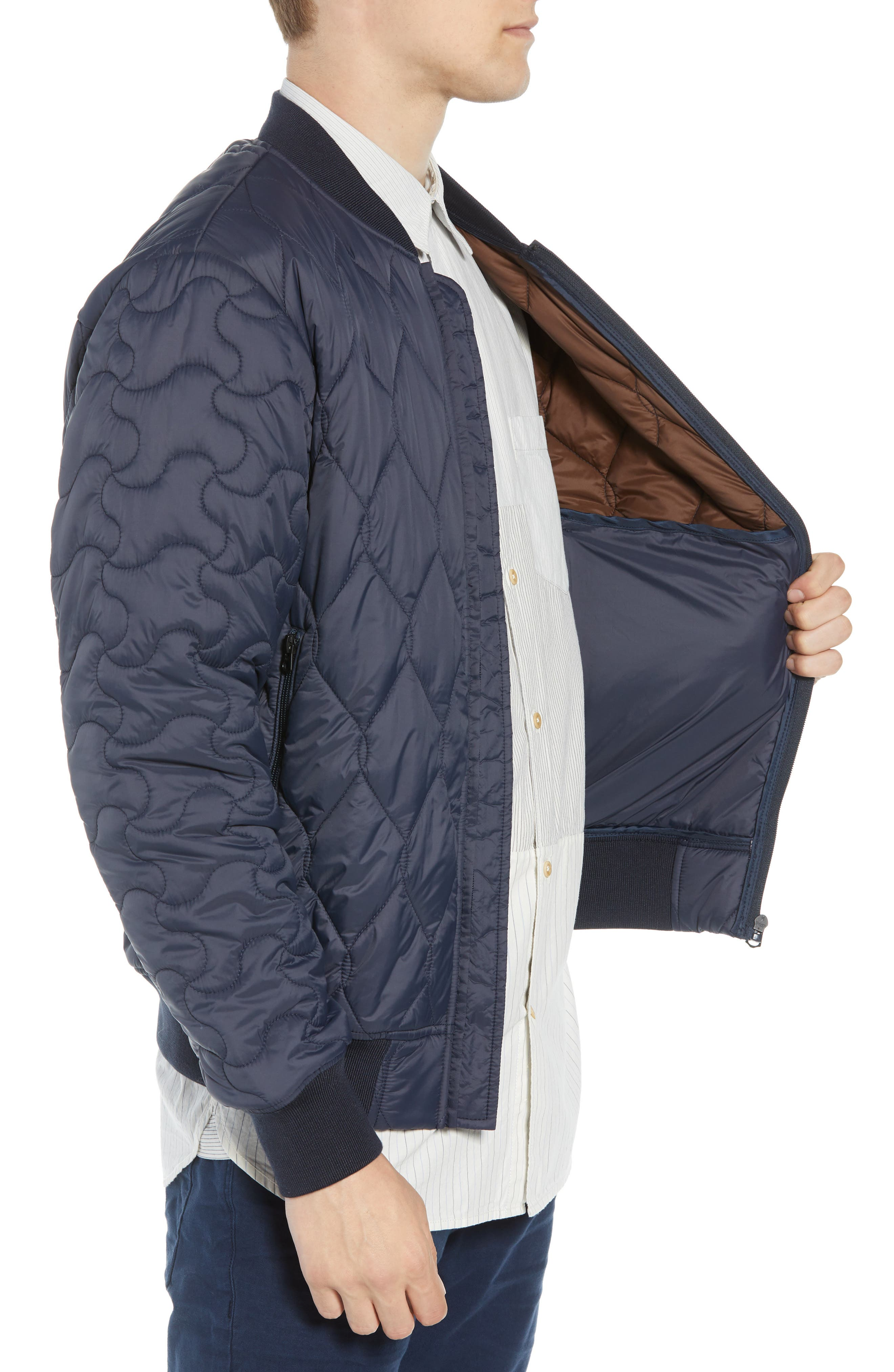 Quilted Jacket,                             Alternate thumbnail 3, color,                             UTILITY BLUE MIDNIGHT MOSS