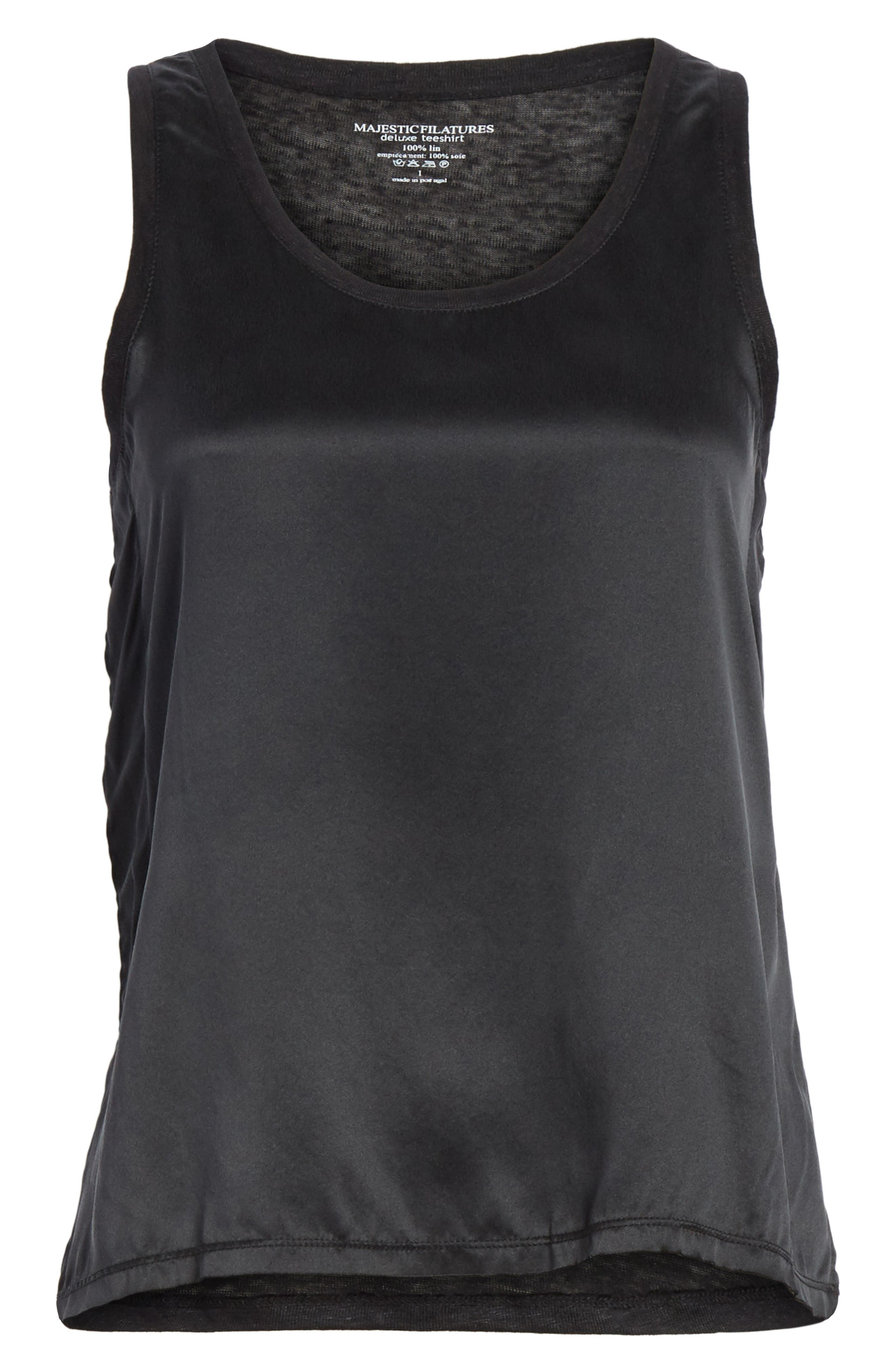 Silk & Linen Tank,                             Alternate thumbnail 6, color,                             001
