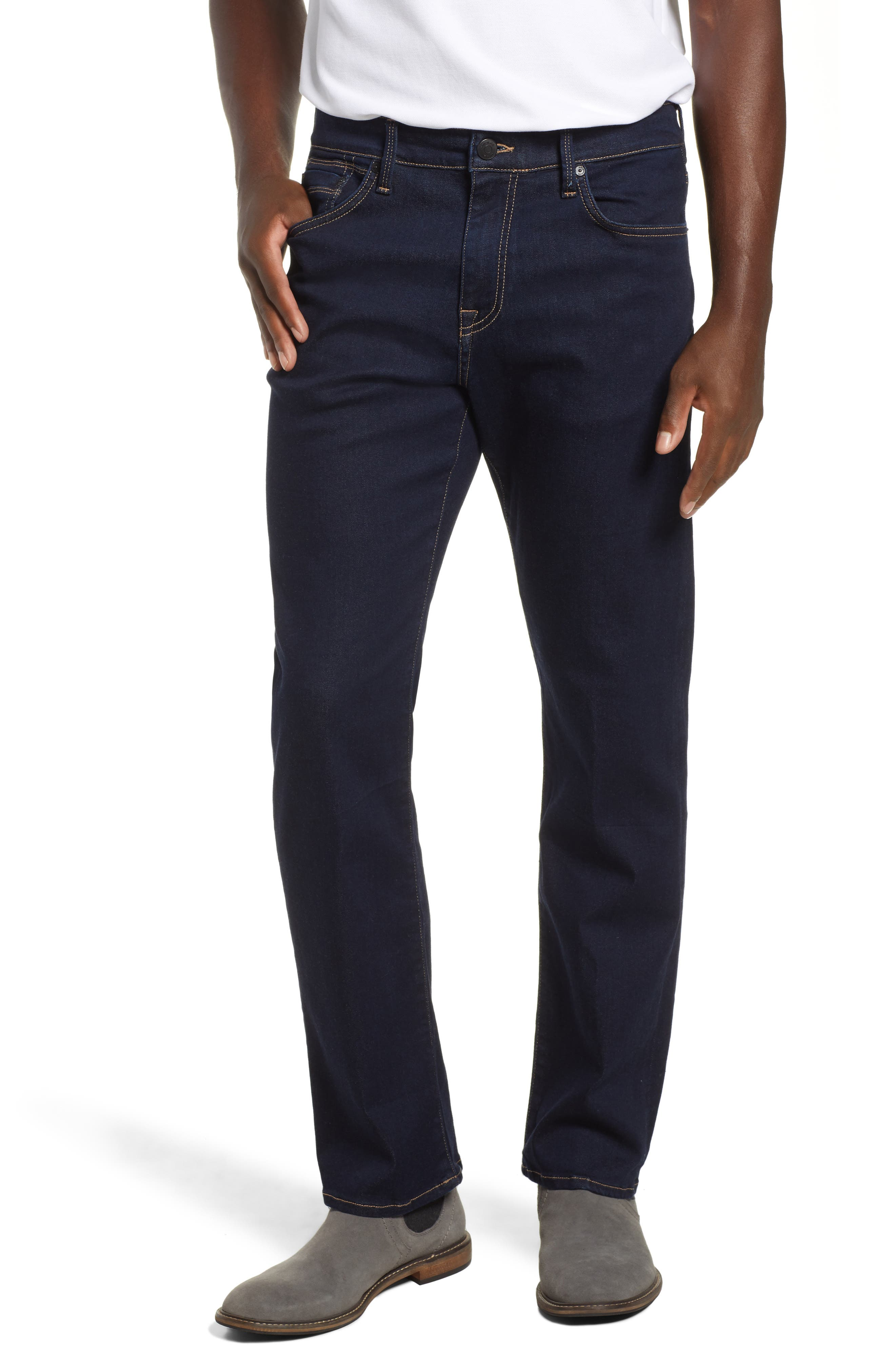 Matt Relaxed Fit Straight Leg Jeans,                         Main,                         color, DEEP RINSE SOFT MOVE