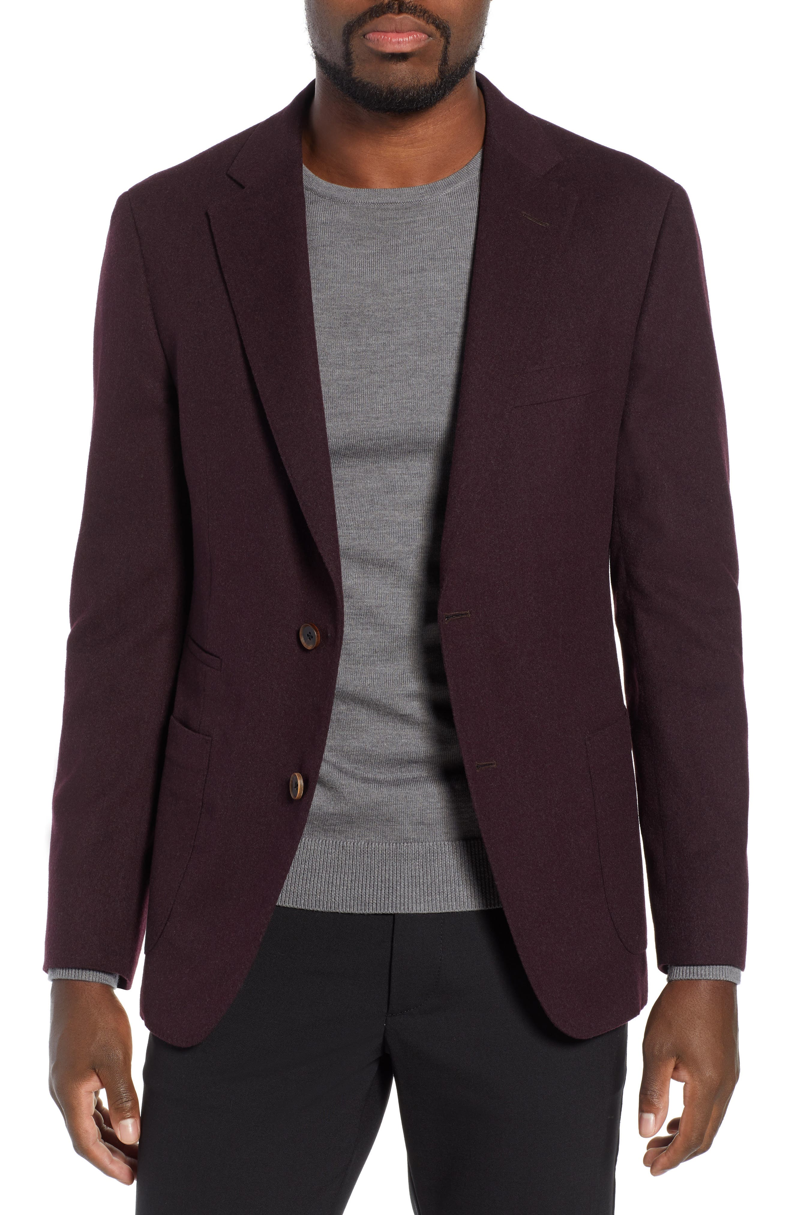 Classic Fit Wool Blazer,                         Main,                         color, BURGUNDY