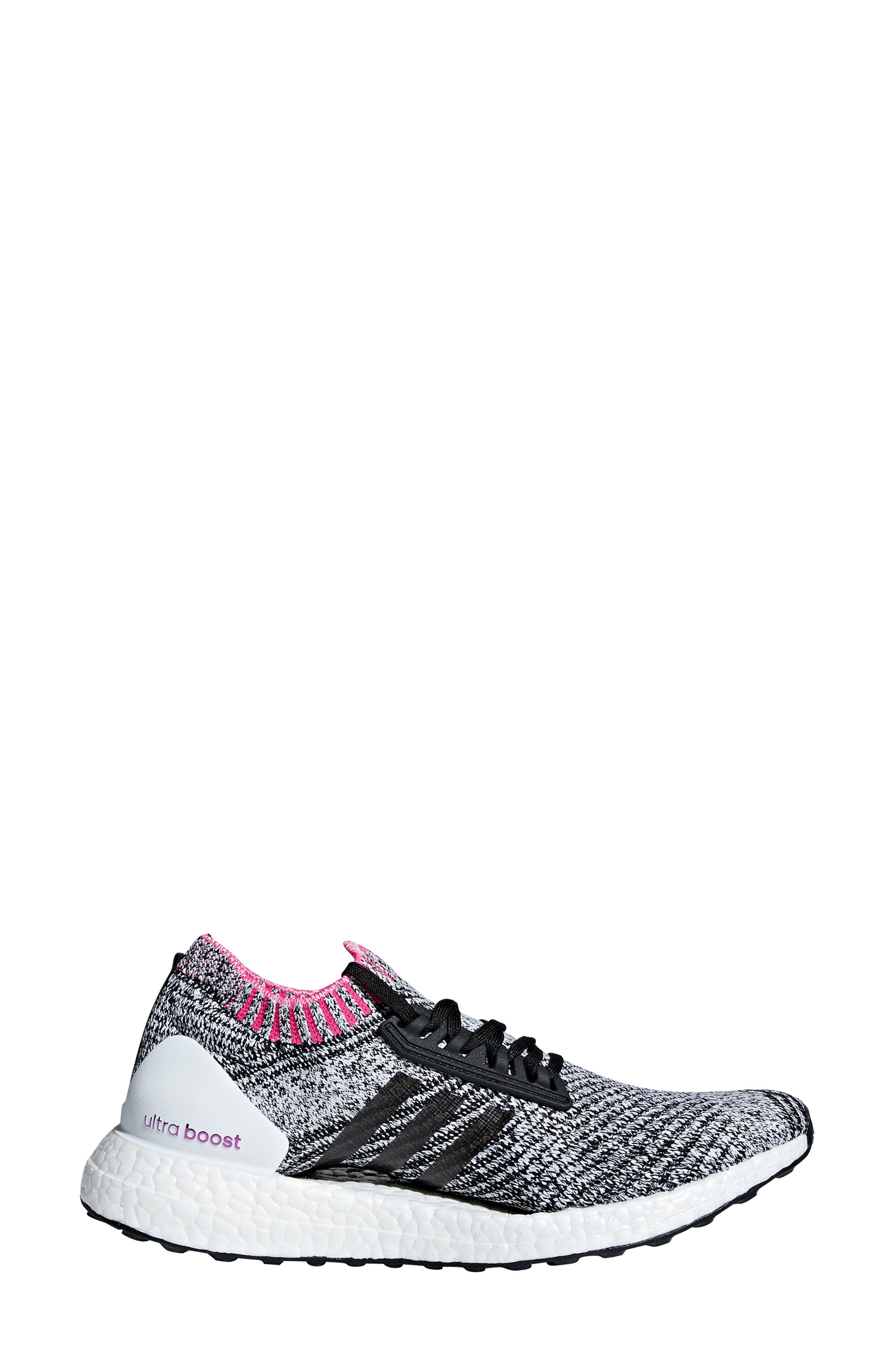 UltraBoost X Running Shoe,                             Alternate thumbnail 3, color,                             WHITE/ BLACK/ SHOCK PINK