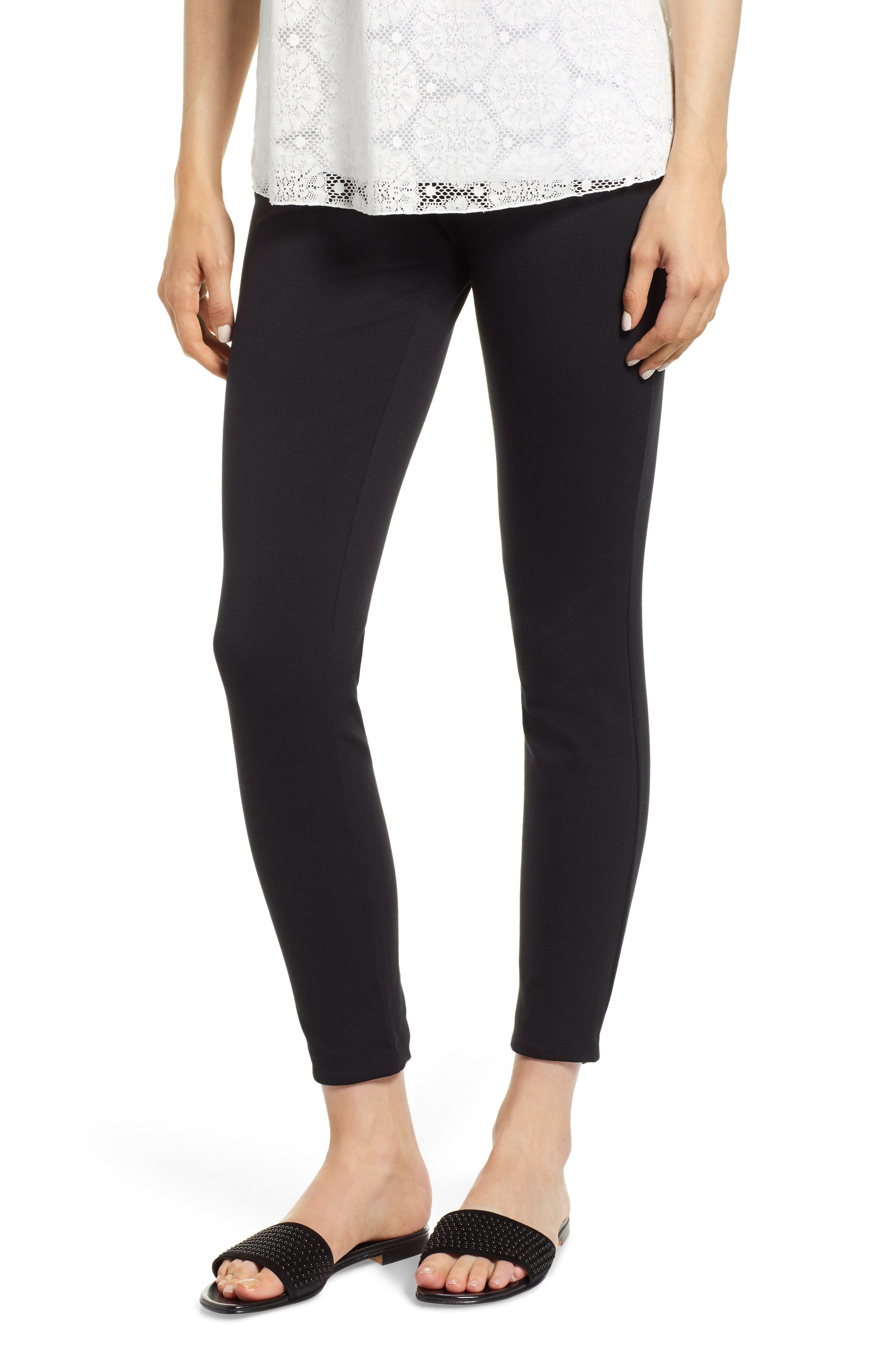 Grace Laced Detail Leggings,                         Main,                         color, BLACK/ BLACK