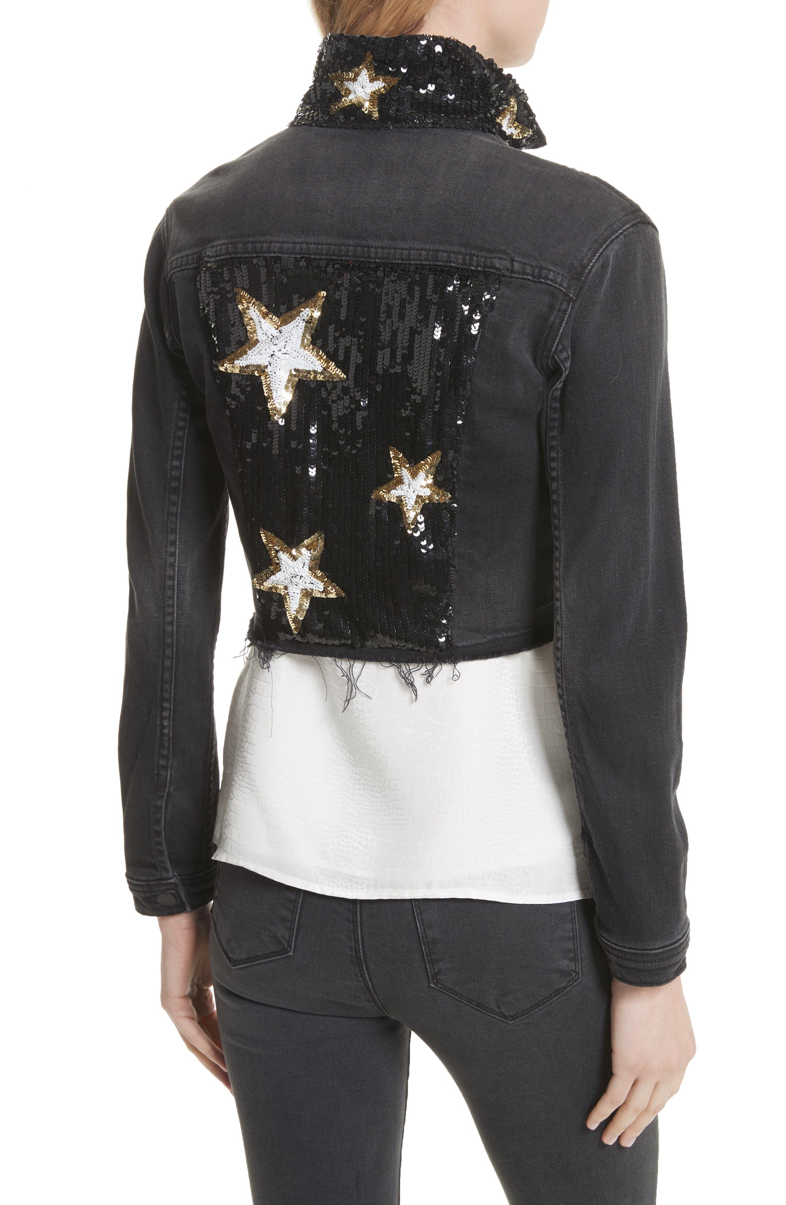Zuma Sequin Star Crop Denim Jacket,                             Alternate thumbnail 2, color,                             010