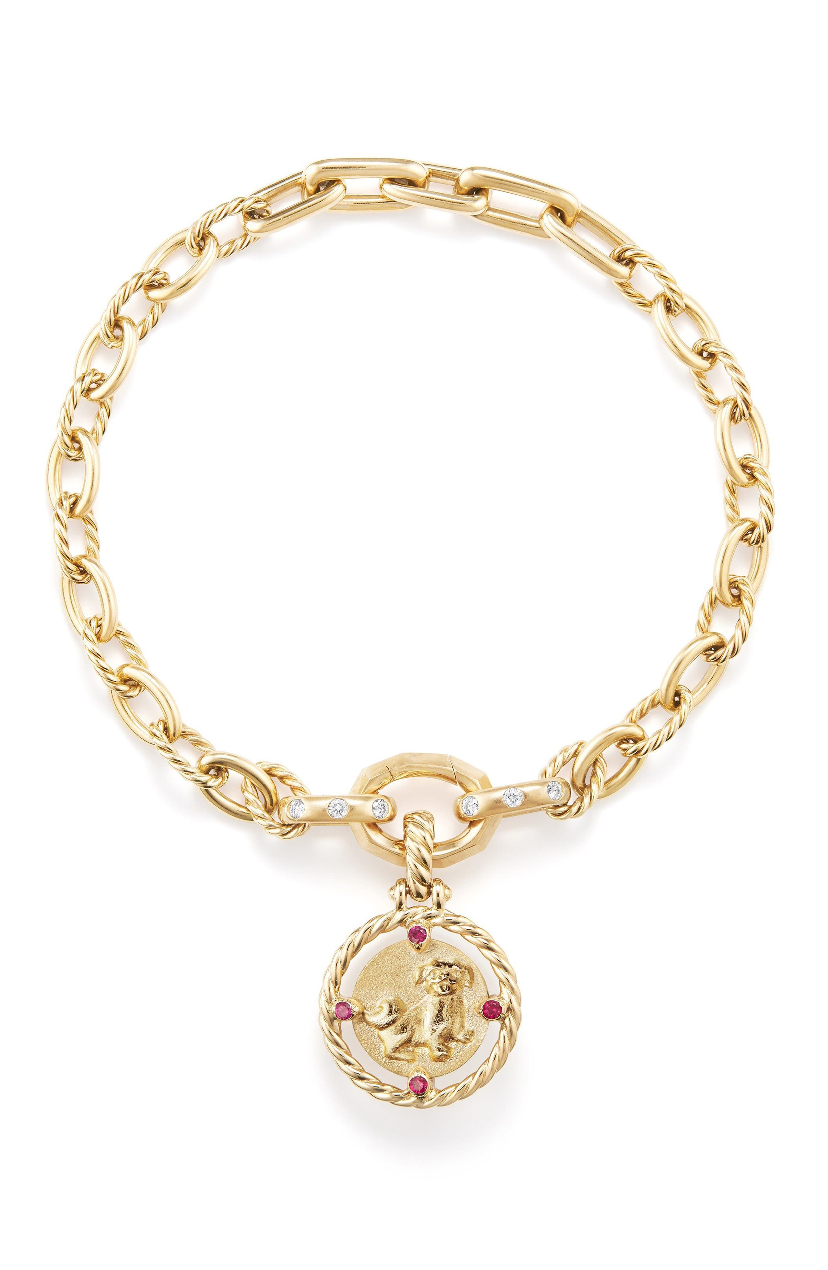 Lunar New Year Charm in 18K Gold with Rubies,                             Alternate thumbnail 3, color,                             YELLOW GOLD/ RUBY