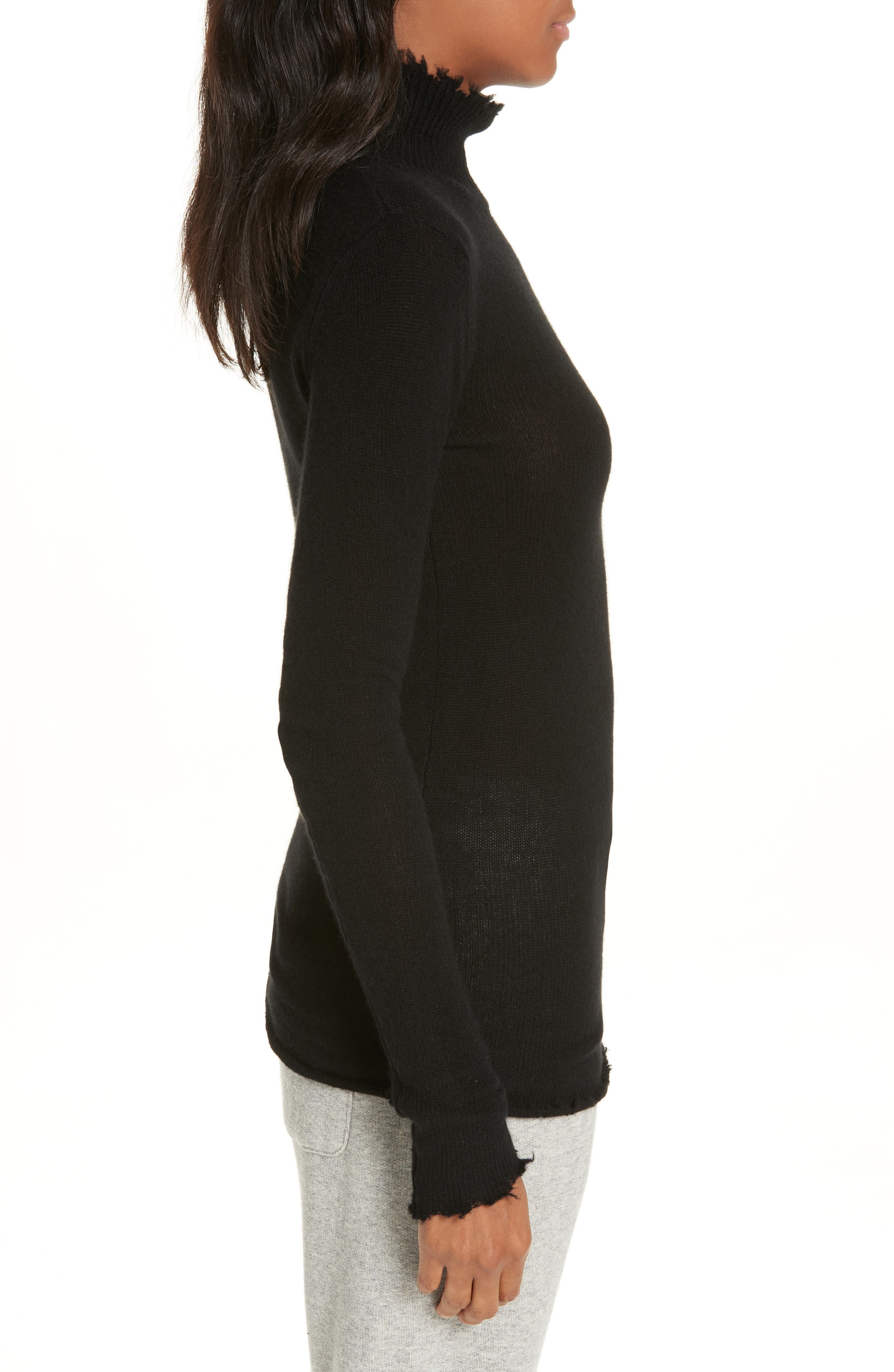 R13,                             Distressed Cashmere Turtleneck Sweater,                             Alternate thumbnail 3, color,                             001