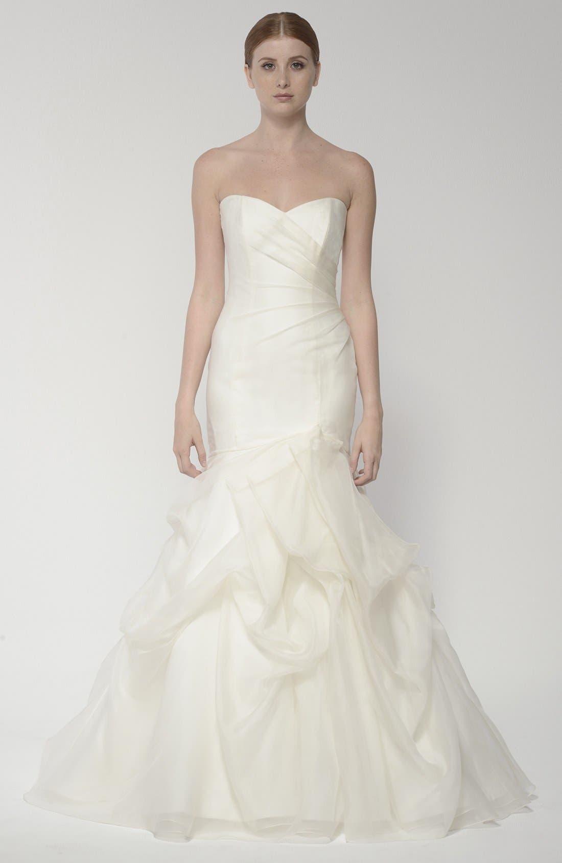 Strapless Silk Organza Mermaid Wedding Dress,                             Alternate thumbnail 5, color,