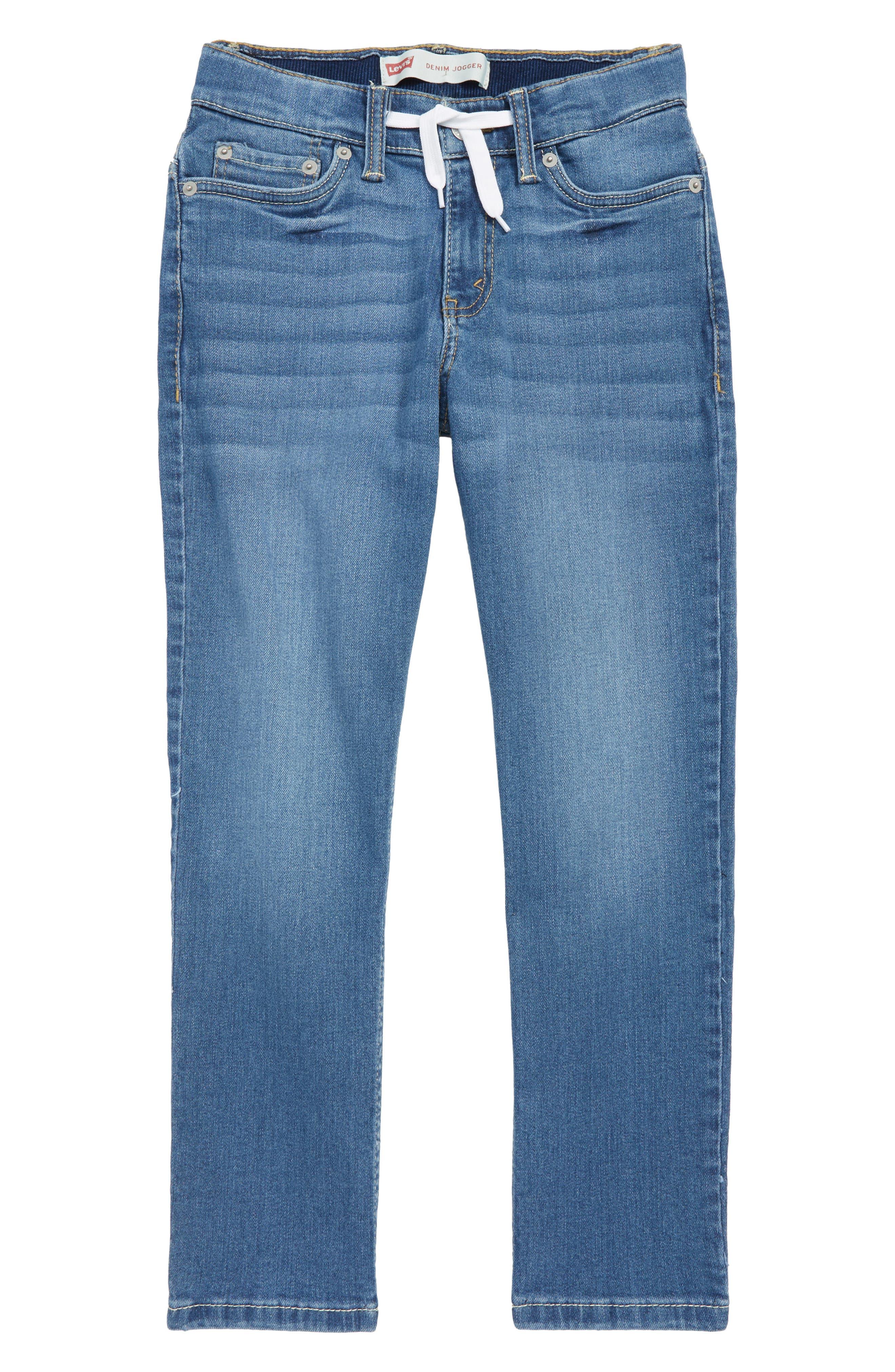 Drawstring Denim Jogger Pants, Main, color, WEST LAKE