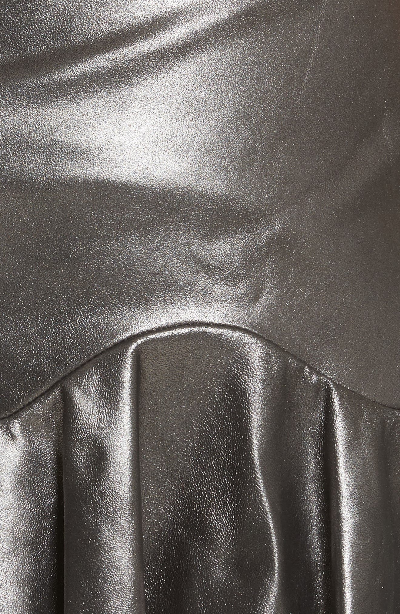 Metallic Leather Miniskirt,                             Alternate thumbnail 5, color,                             093