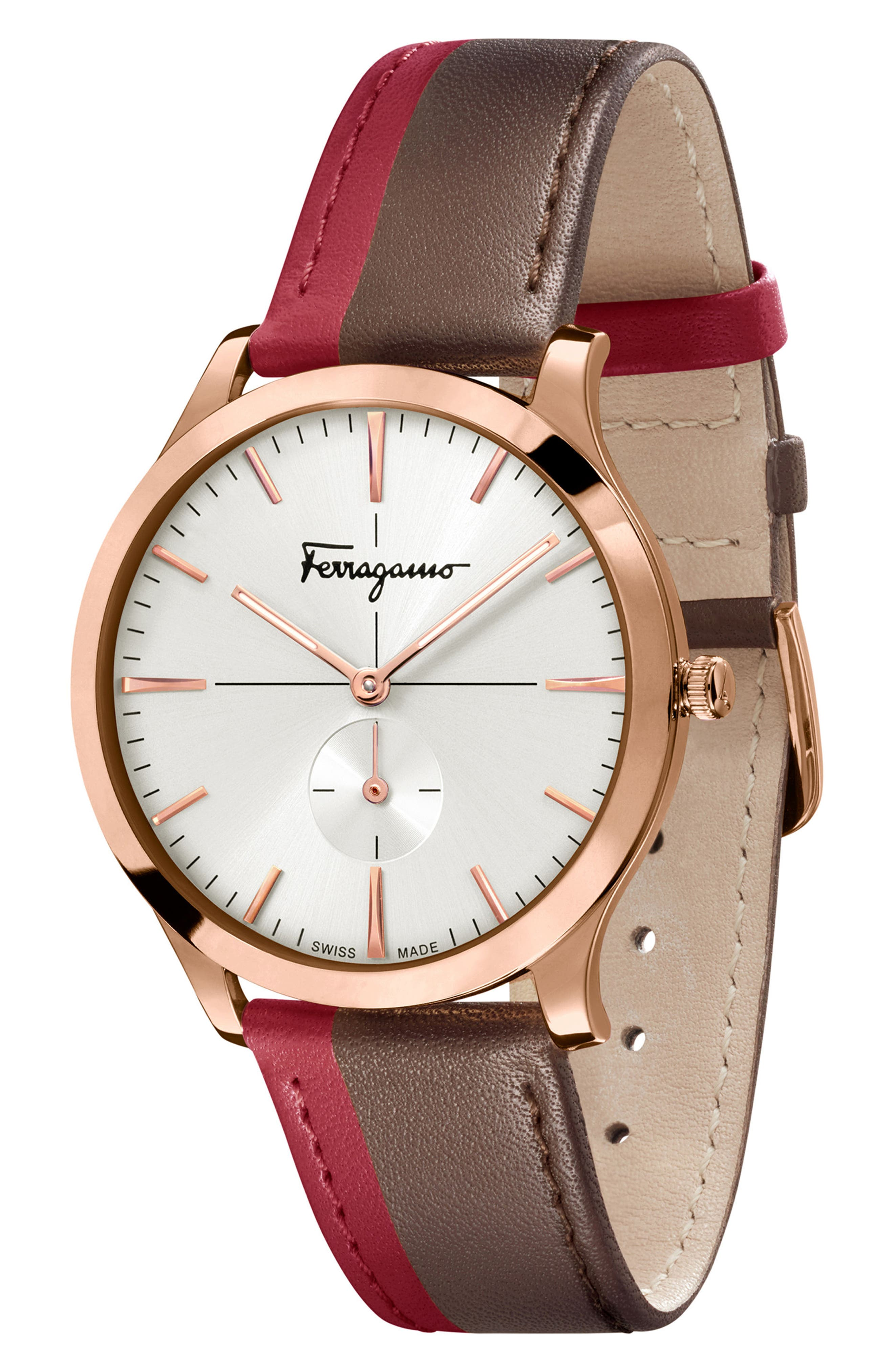 Slim Formal Leather Strap Watch, 40mm,                             Alternate thumbnail 4, color,                             RED/ BROWN/ GOLD