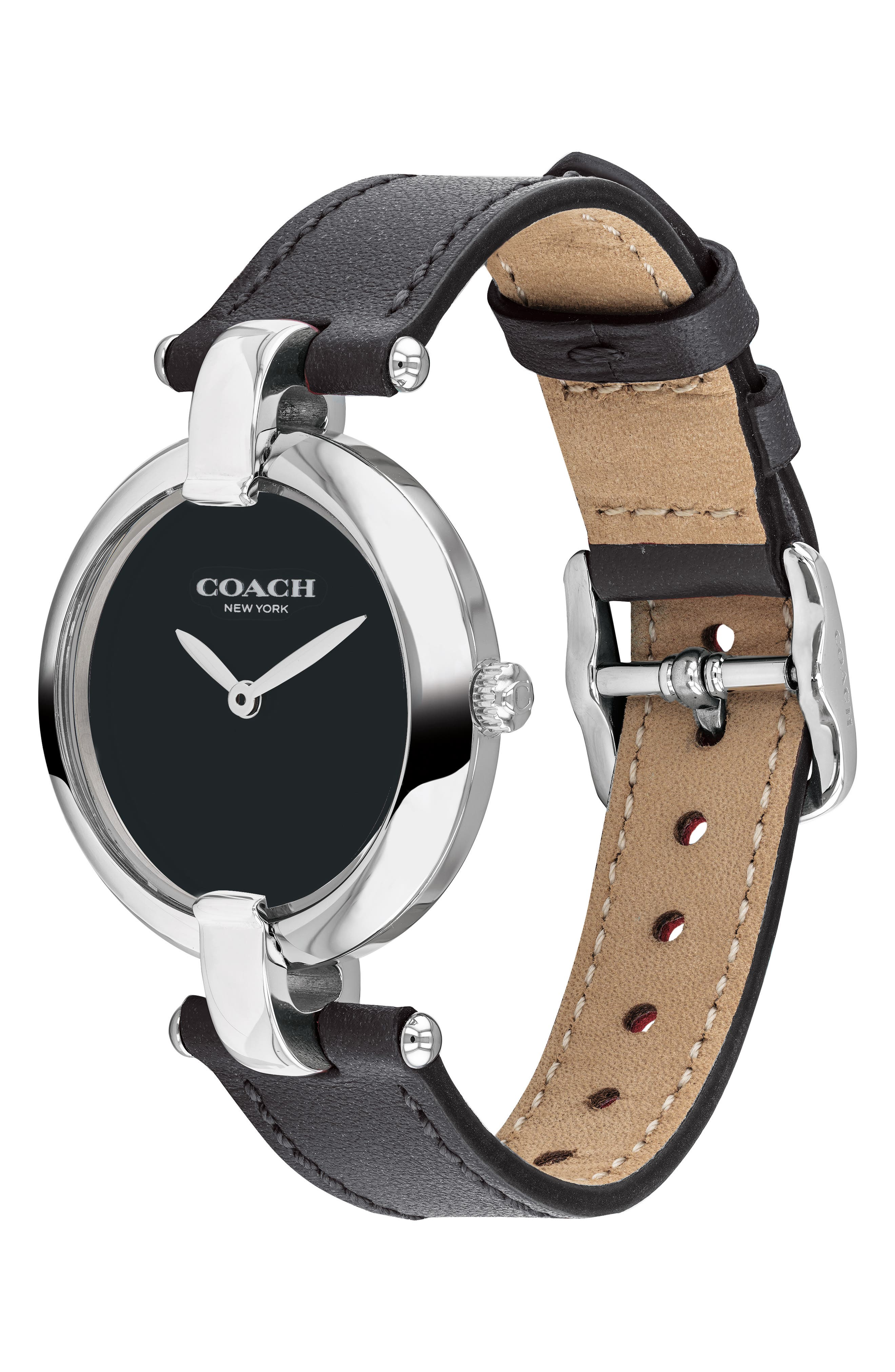 Chrystie Leather Strap Watch, 32mm,                             Alternate thumbnail 3, color,                             001
