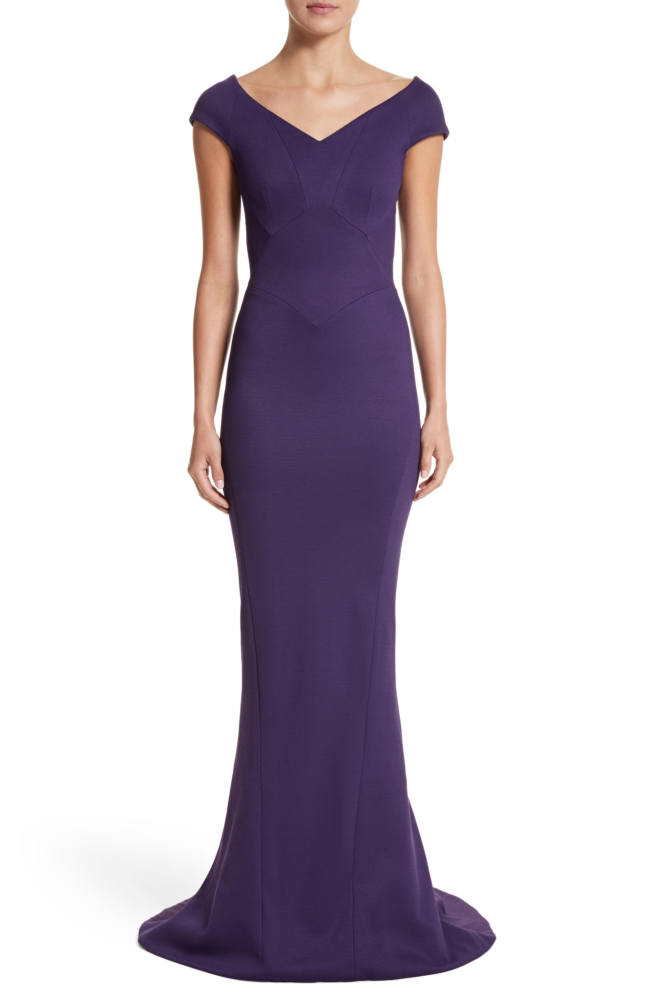Bonded Jersey Mermaid Gown,                             Alternate thumbnail 9, color,