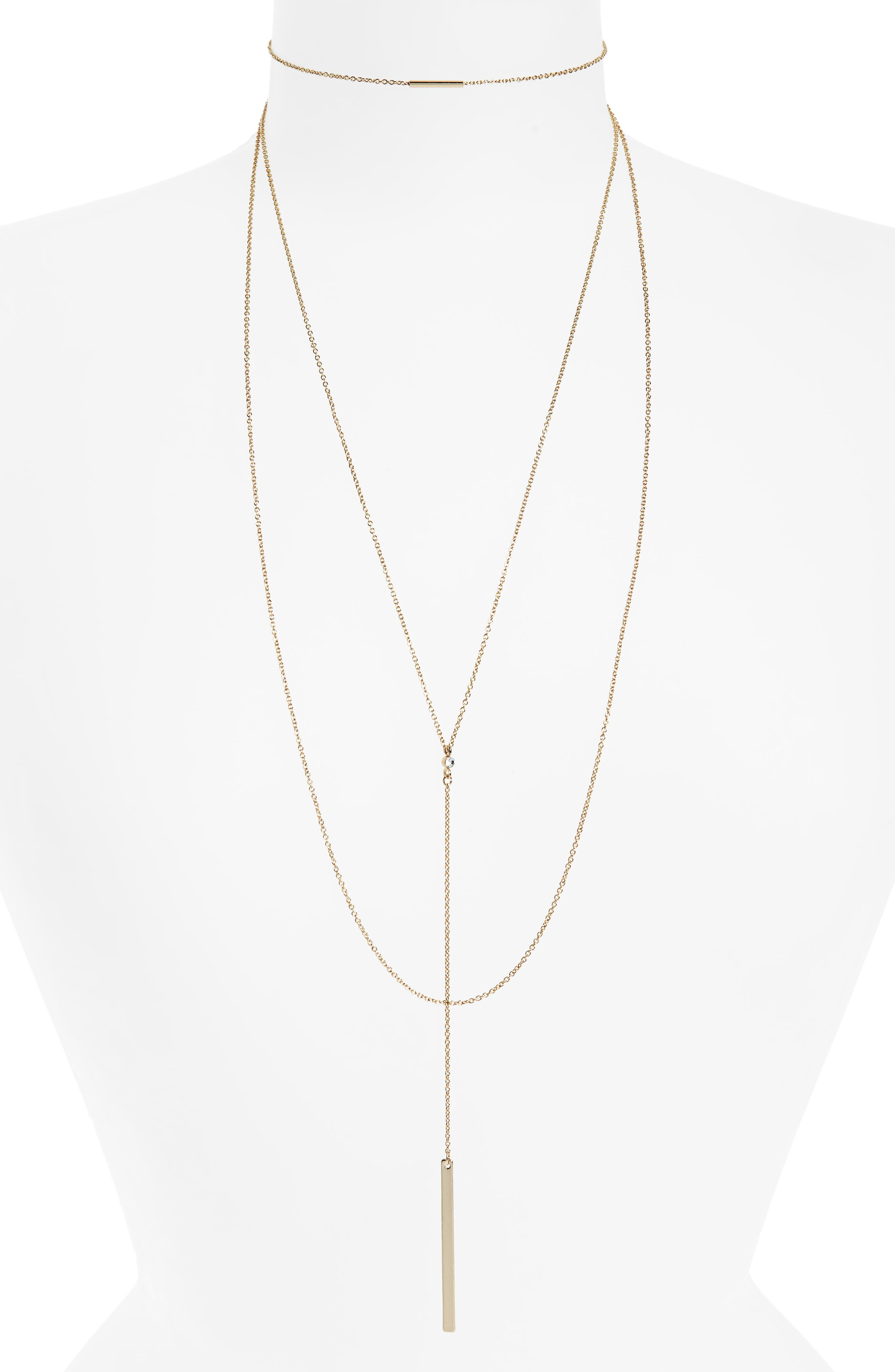 Multi-Row Drop Pendant Necklace,                         Main,                         color,