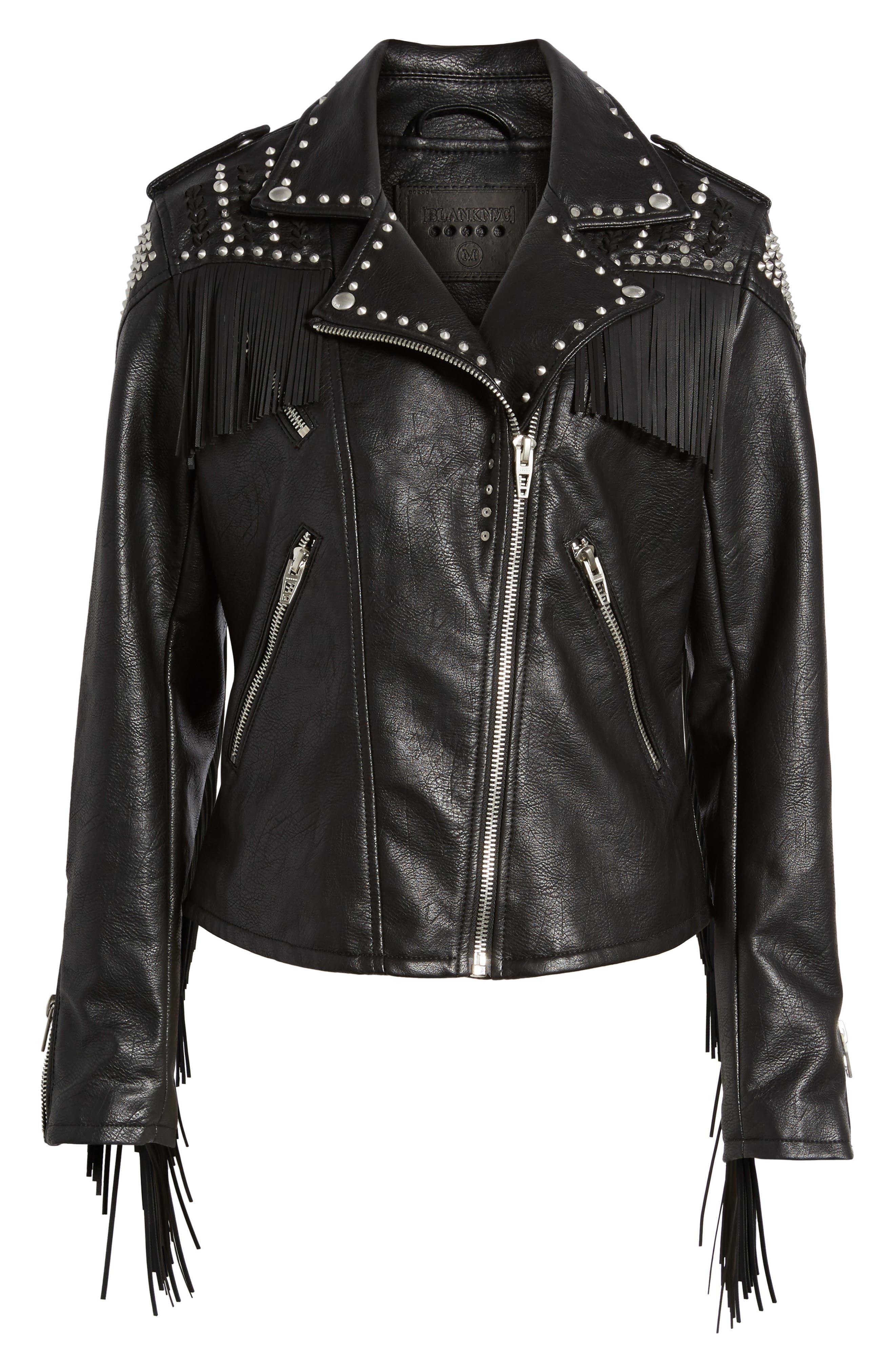 Studded Fringe Faux Leather Moto Jacket,                             Alternate thumbnail 5, color,                             001